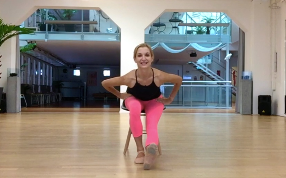 - Extend one leg down and put it on to the heel, foot flexed with the toes pointing up. Stretch the knee and lean towards it keeping your back straight.