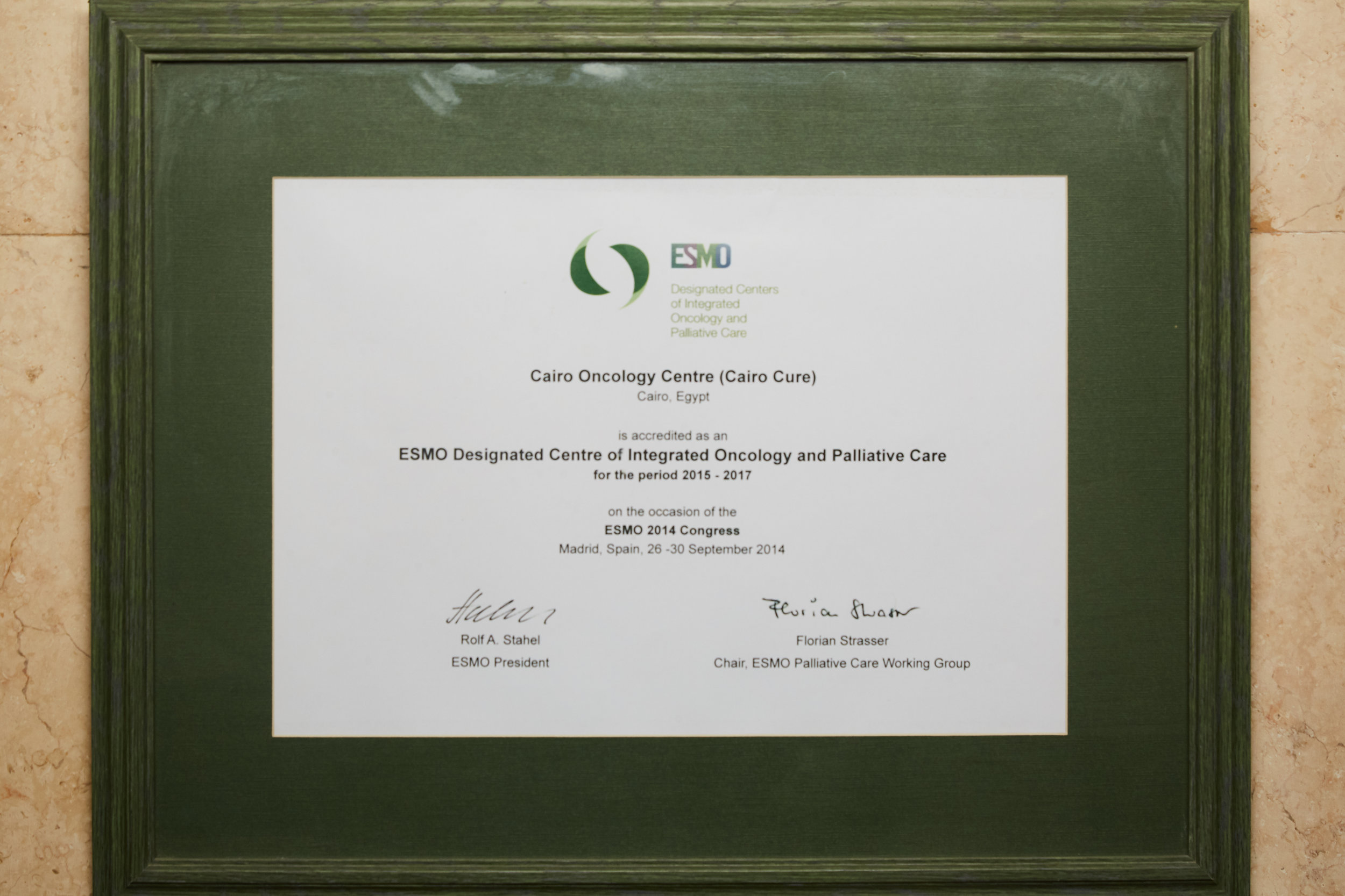 ESMO Accrediation Certificate