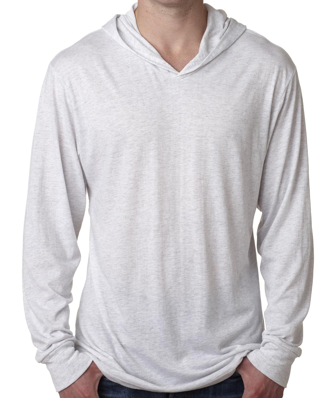 Unisex triblend long sleeve hoodie (cotton, polyester, rayon blend, longer length, super soft feel, $$)