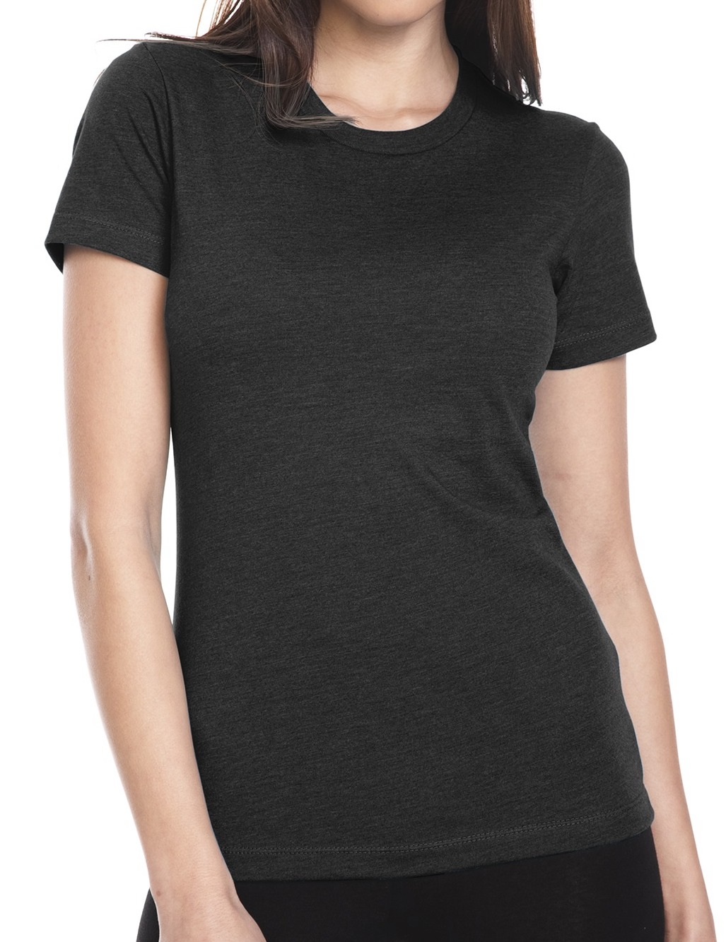 Women's CVC crew neck (cotton, rayon, polyester, great fit and very soft, $$).
