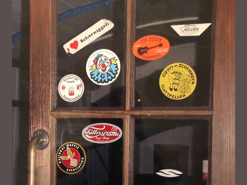 The NWA found itself in good company surrounded by stickers on the door of a barge in the Swiss Transport Museum located in Lucerne.It's a big place!