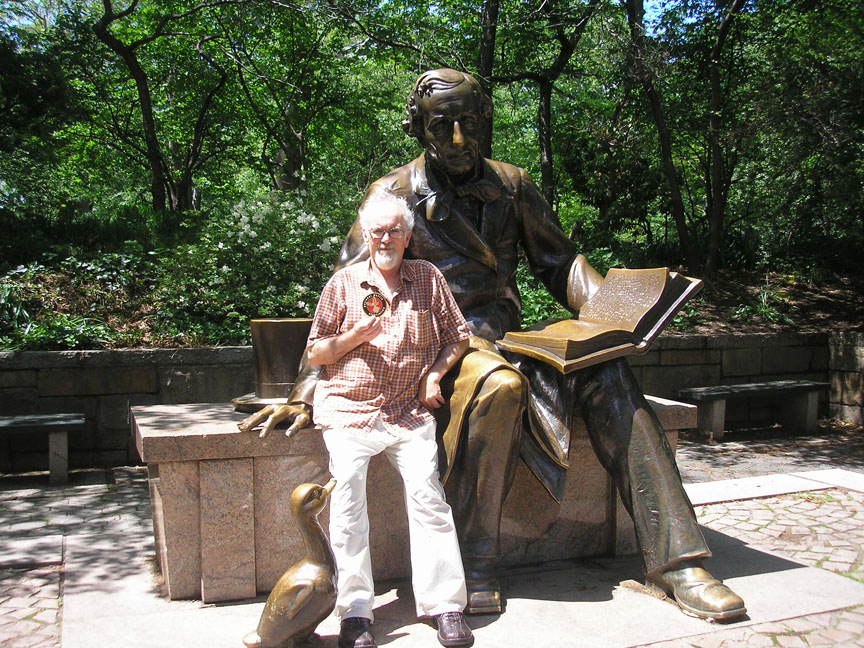 T shown here with Hans Christian Anderson. Central Park, New York City.