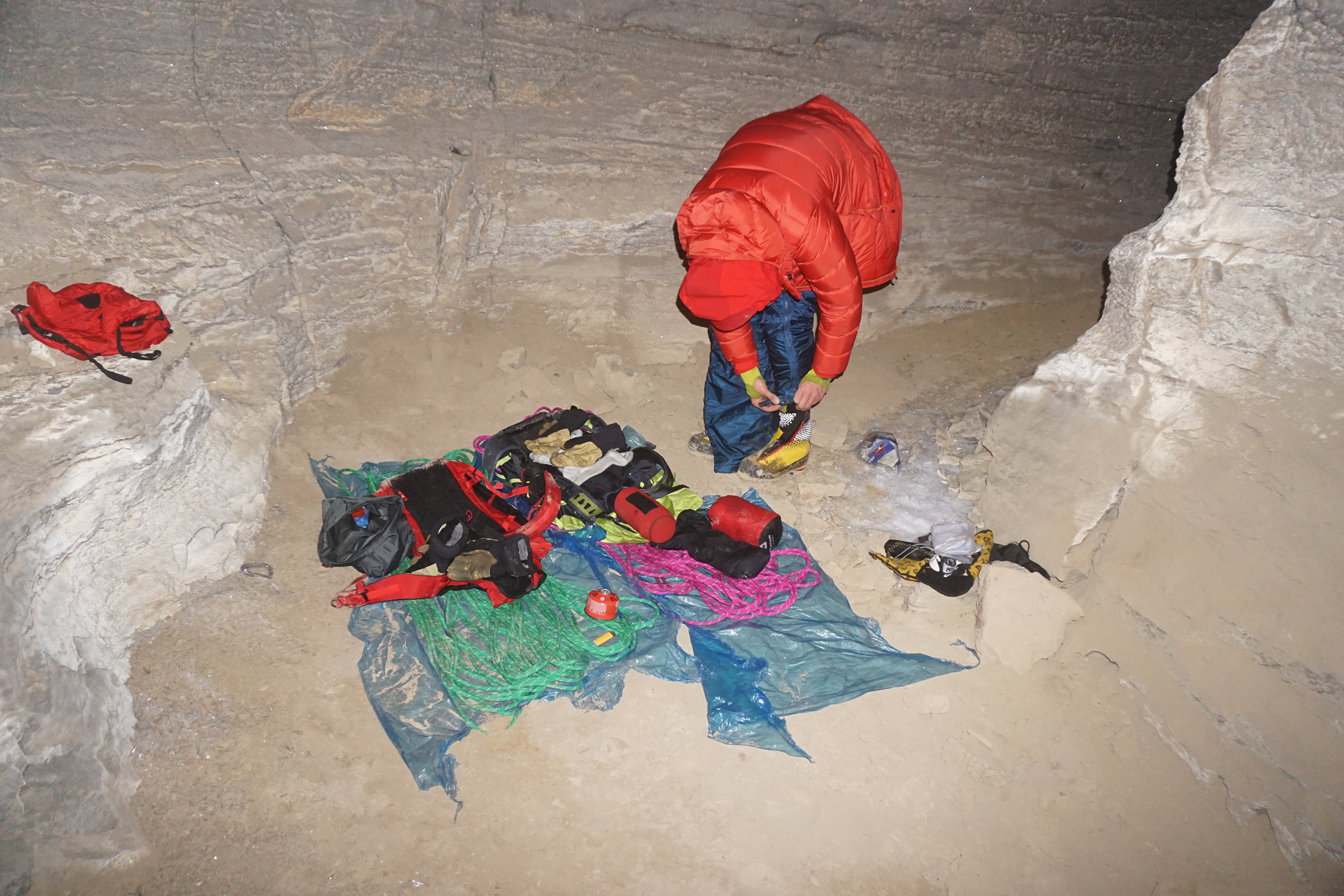 with all our worldy possessions, we get ready for a shiver bivi in the cave. north face of mt. alberta. Photo: uisdean hawthorn