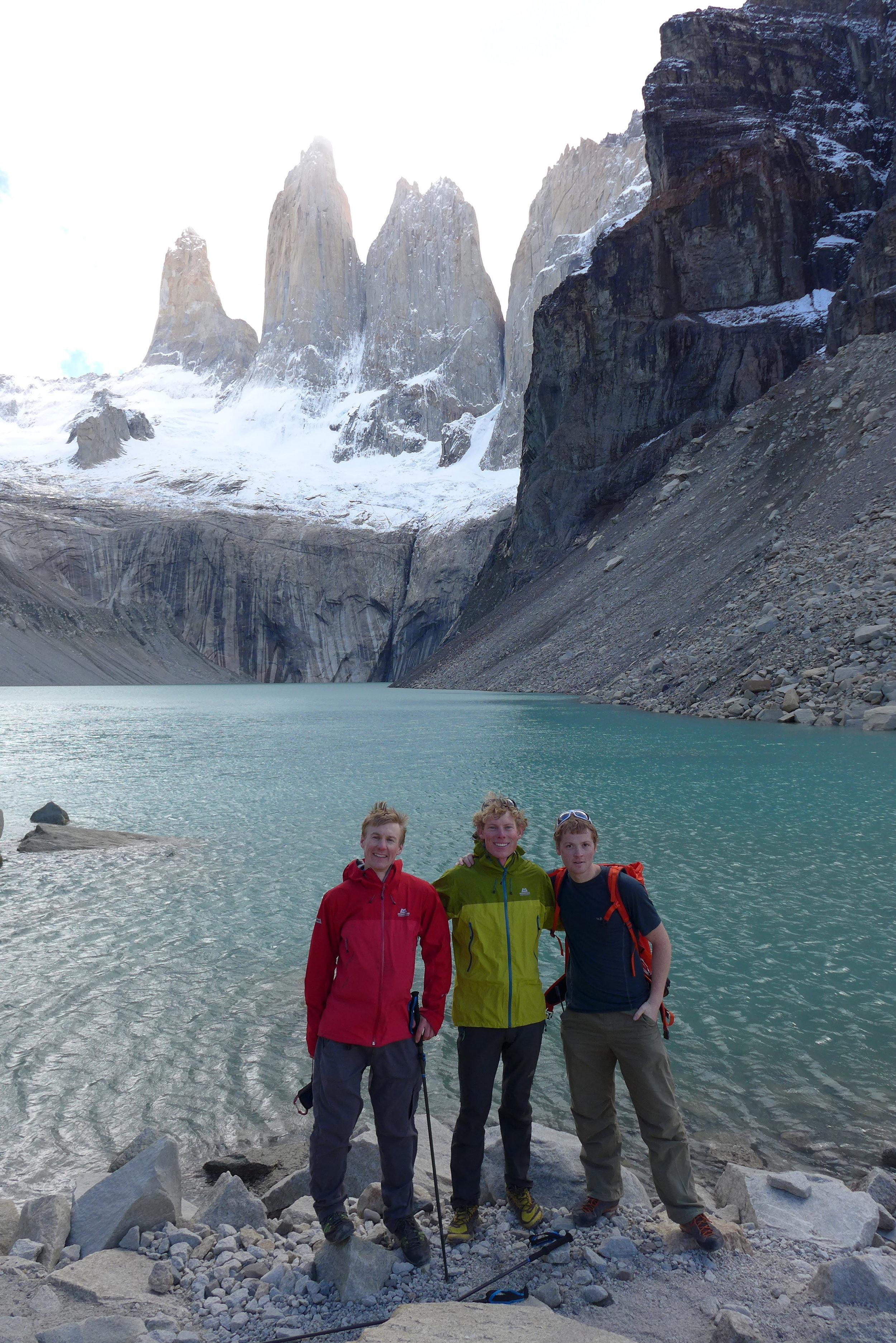 Tony, me and Calum beneath the three Torres del Paine. Photo: Calum Muskett