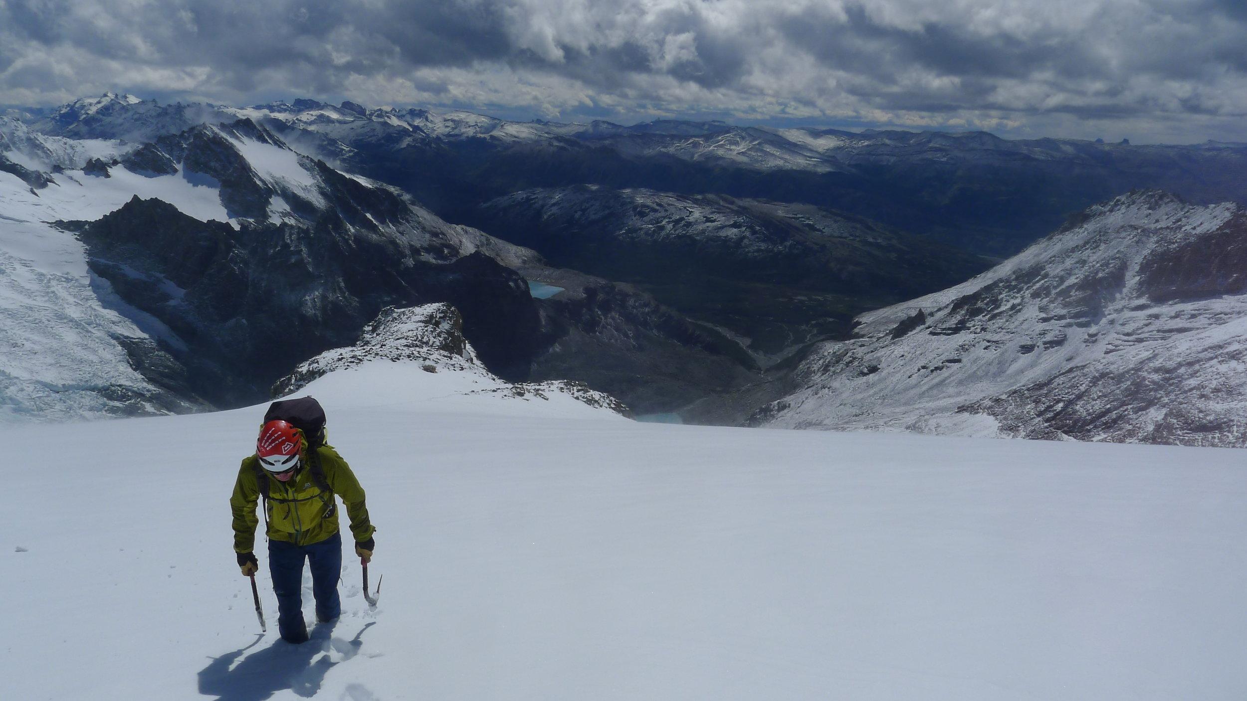 Approaching Aguja de L'S in deep snow. Photo: Tony Stone