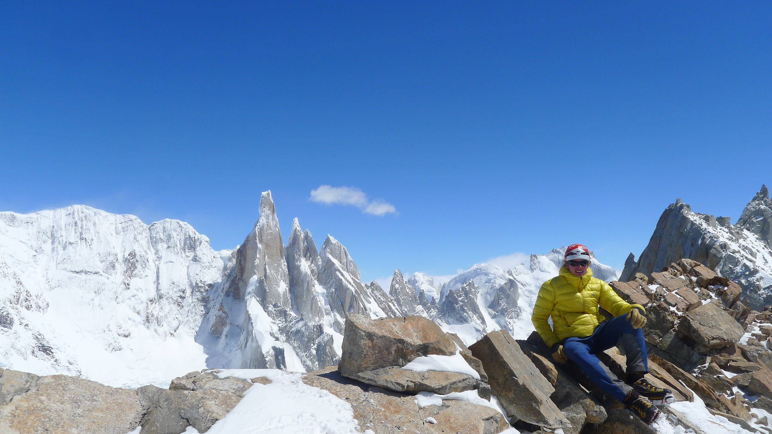 From the summit of Mojon Rojo, with Cerro Torre, Torre Egger and Cerro Standhart in the background. Photo: Tony Stone
