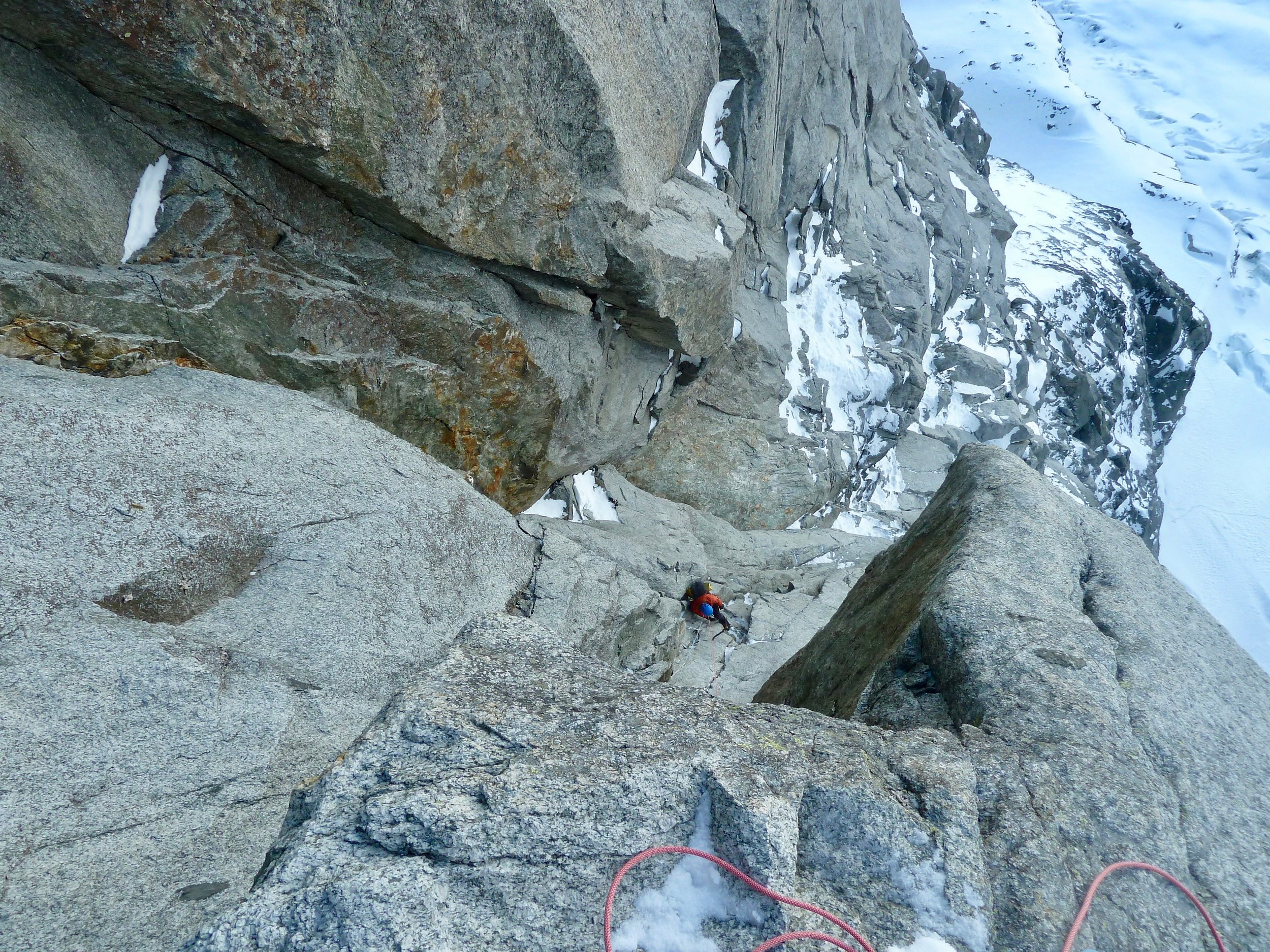 looking down the first crux chimney at Kim