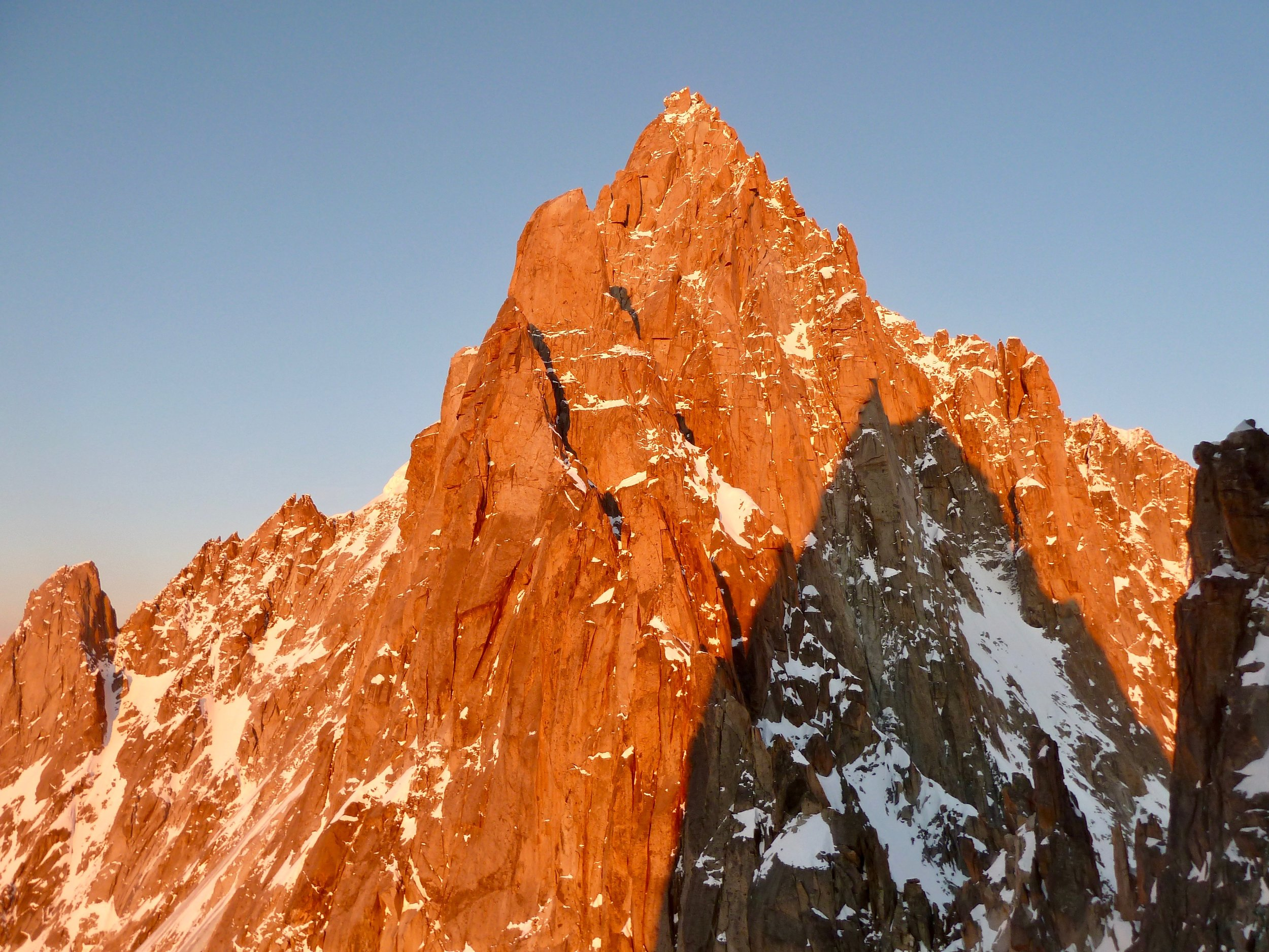 aiguille sans nom in evening light. chamonix
