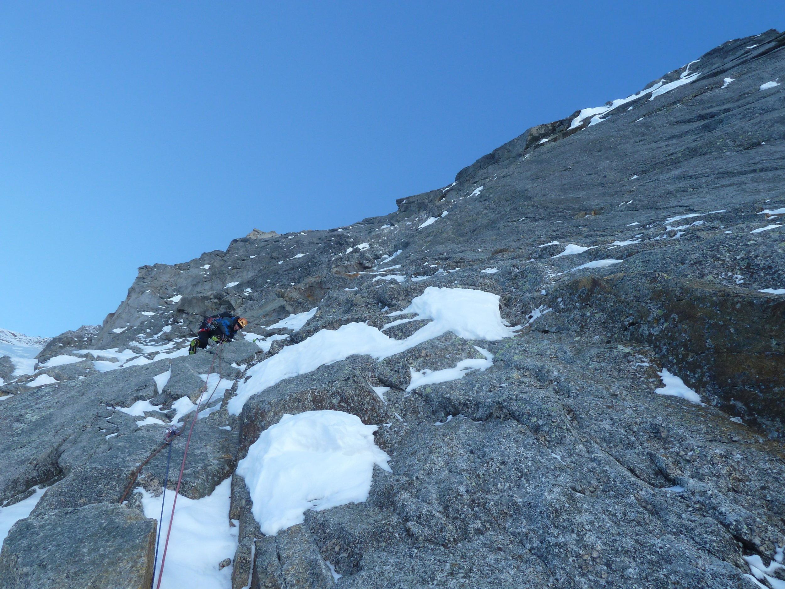 pete graham on the walker spur, grandes jorasses, mont blanc massif. chamonix