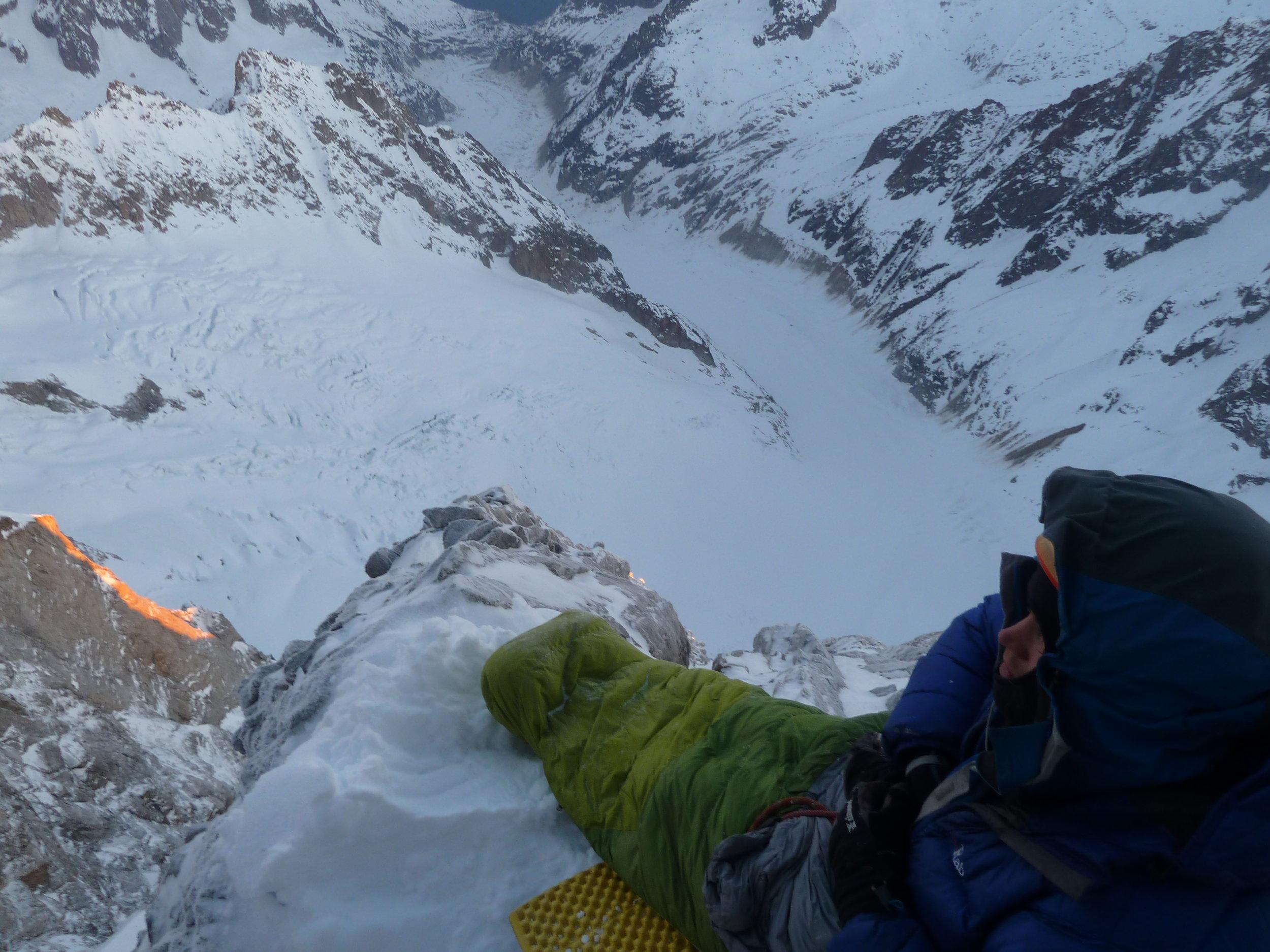 walker spur, winter ascent, grandes jorasses, mont blanc massif. Chamonix.