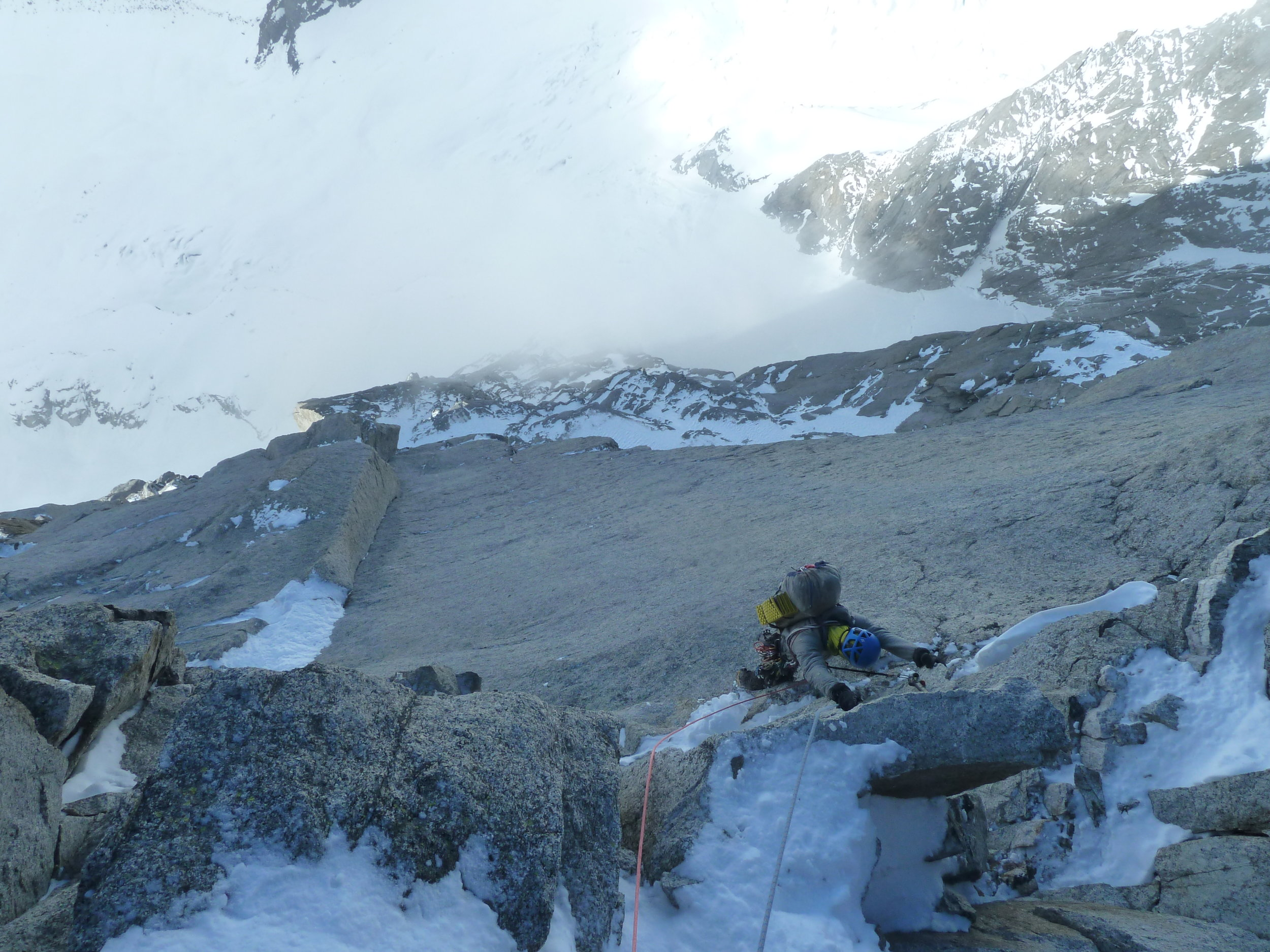 kim ladiges on the pierre allain/classic route, le dru, mont blanc massif. chamonix