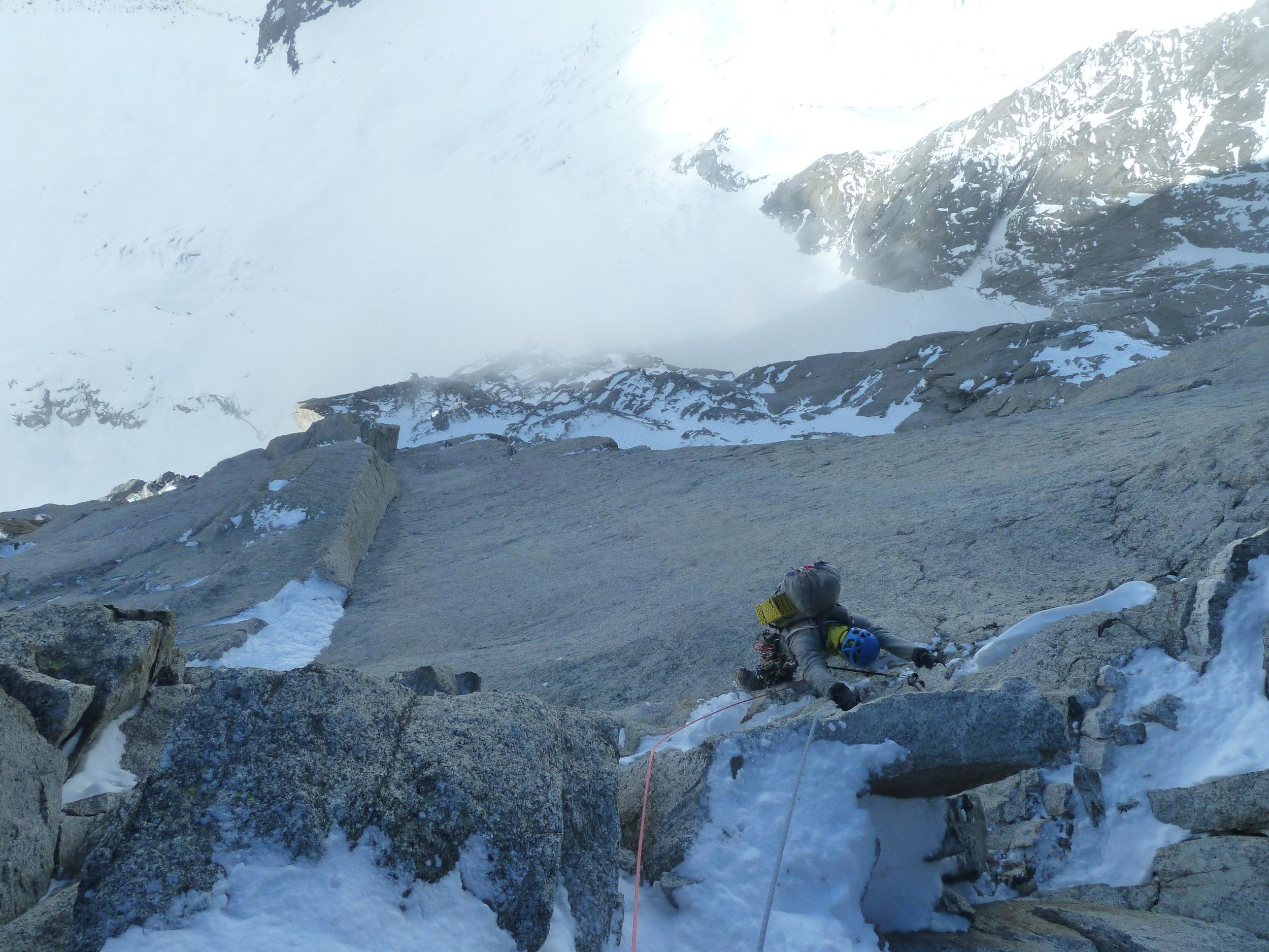 kim ladiges on the pierre allain/classic route, le dru, mont blanc massif. chamonix
