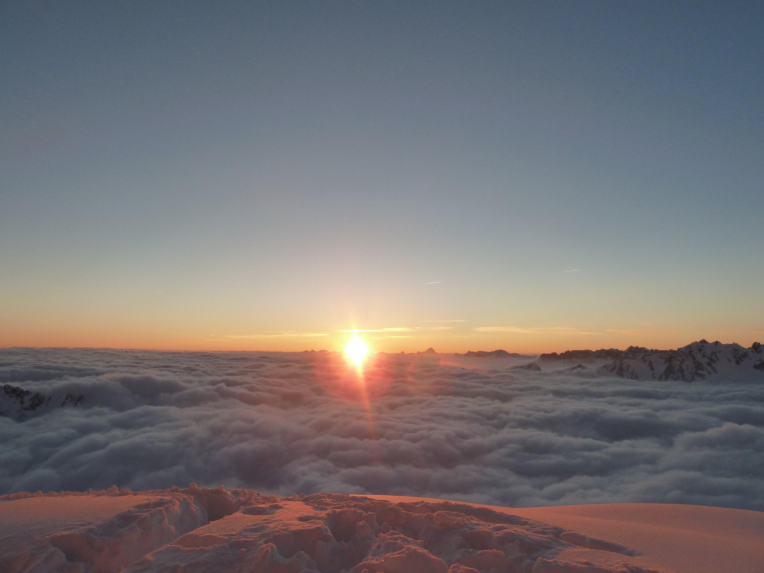 sunset from the mont blanc massif. chamonix.