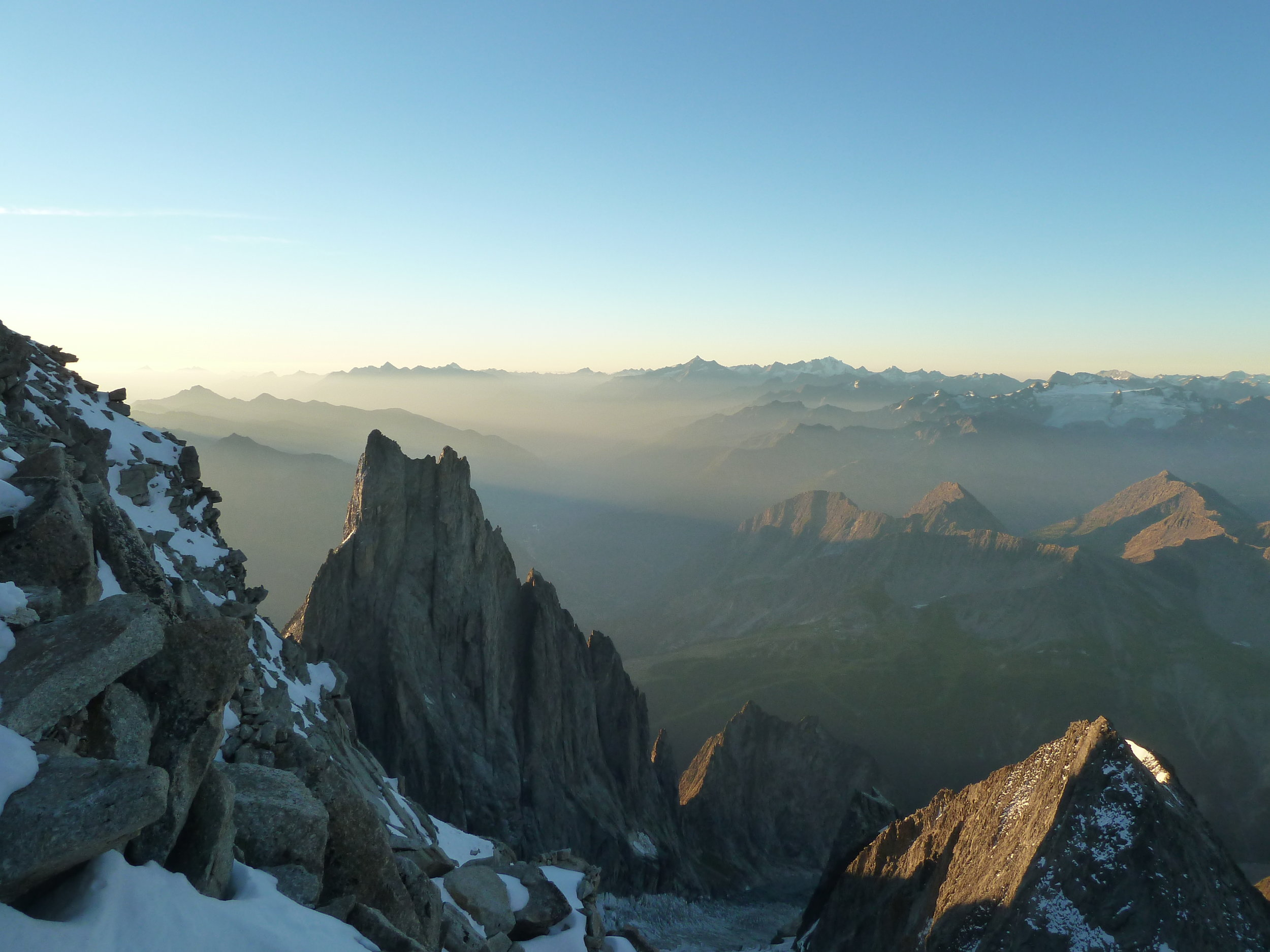 morning light from the eccles bivouac, mont blanc massif. chamonix