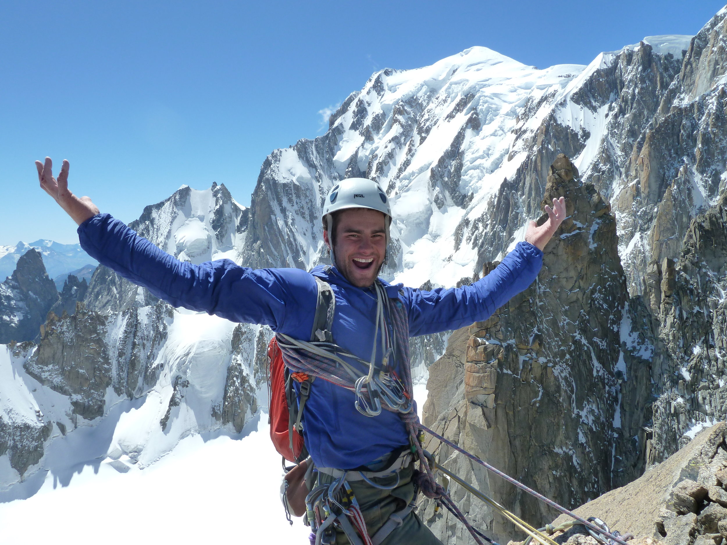 ollie burrows, summit of grand capucin, mont blanc massif. chamonix