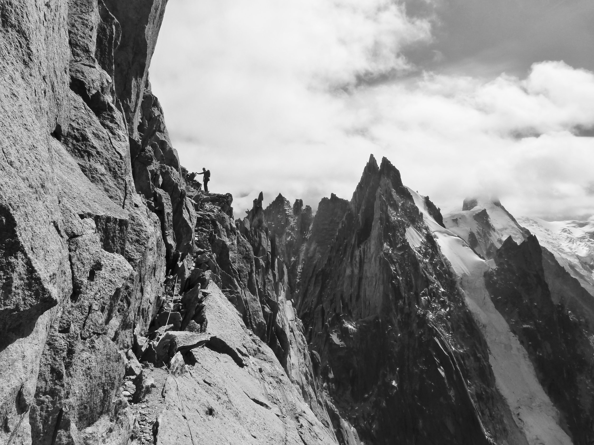 Tony Stone traversing the Central summit of the Blatiere.