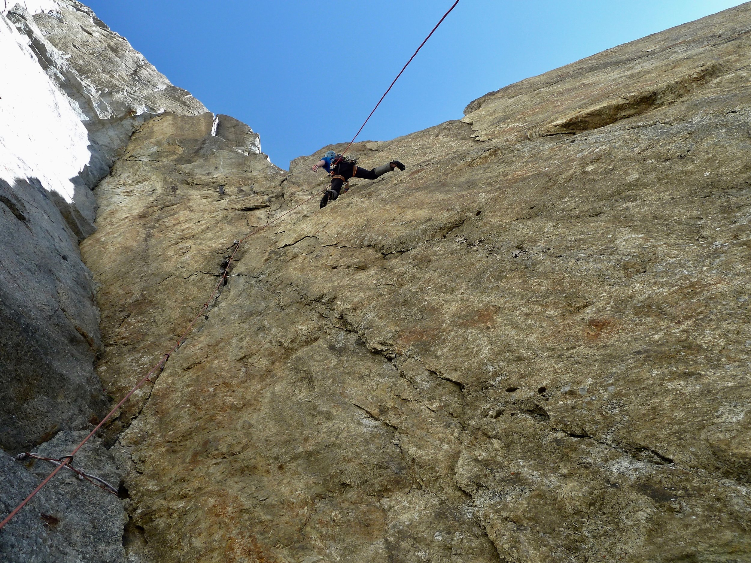 tony stone on the american route, south face of the aiguille du fou, chamonix. Mont Blanc massif