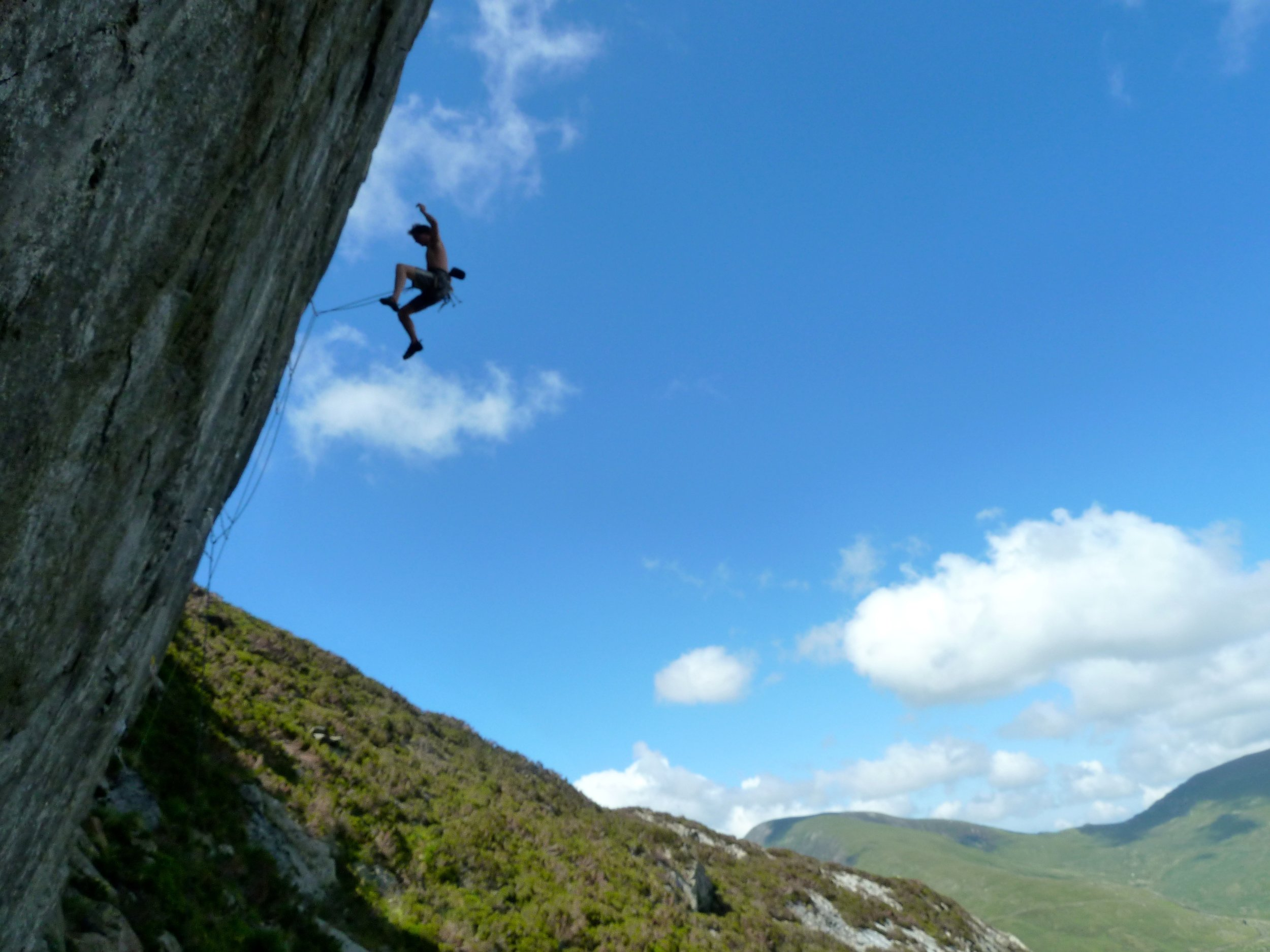 Jack Lawledge takes flight from Heart of Stone (E7 6c), Ogwen Valley. Photo: Anna Gilyeat