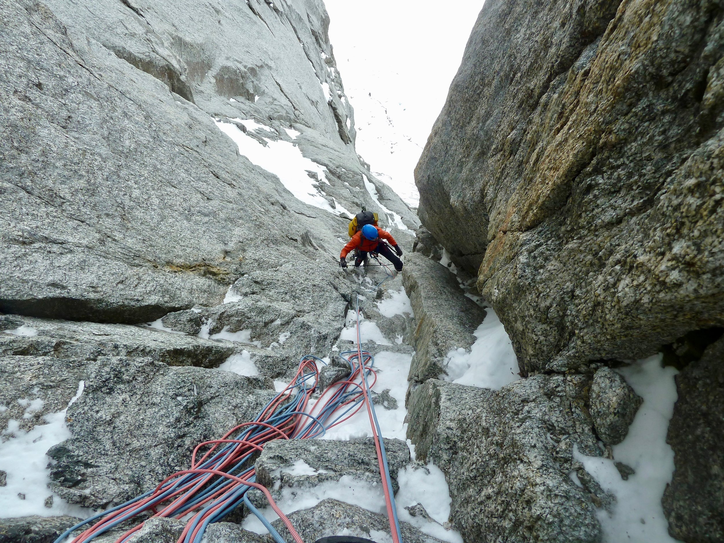 Kim Ladiges seconding a pitch on the Leseuer Route. This photo bares no real representation to the climbing!