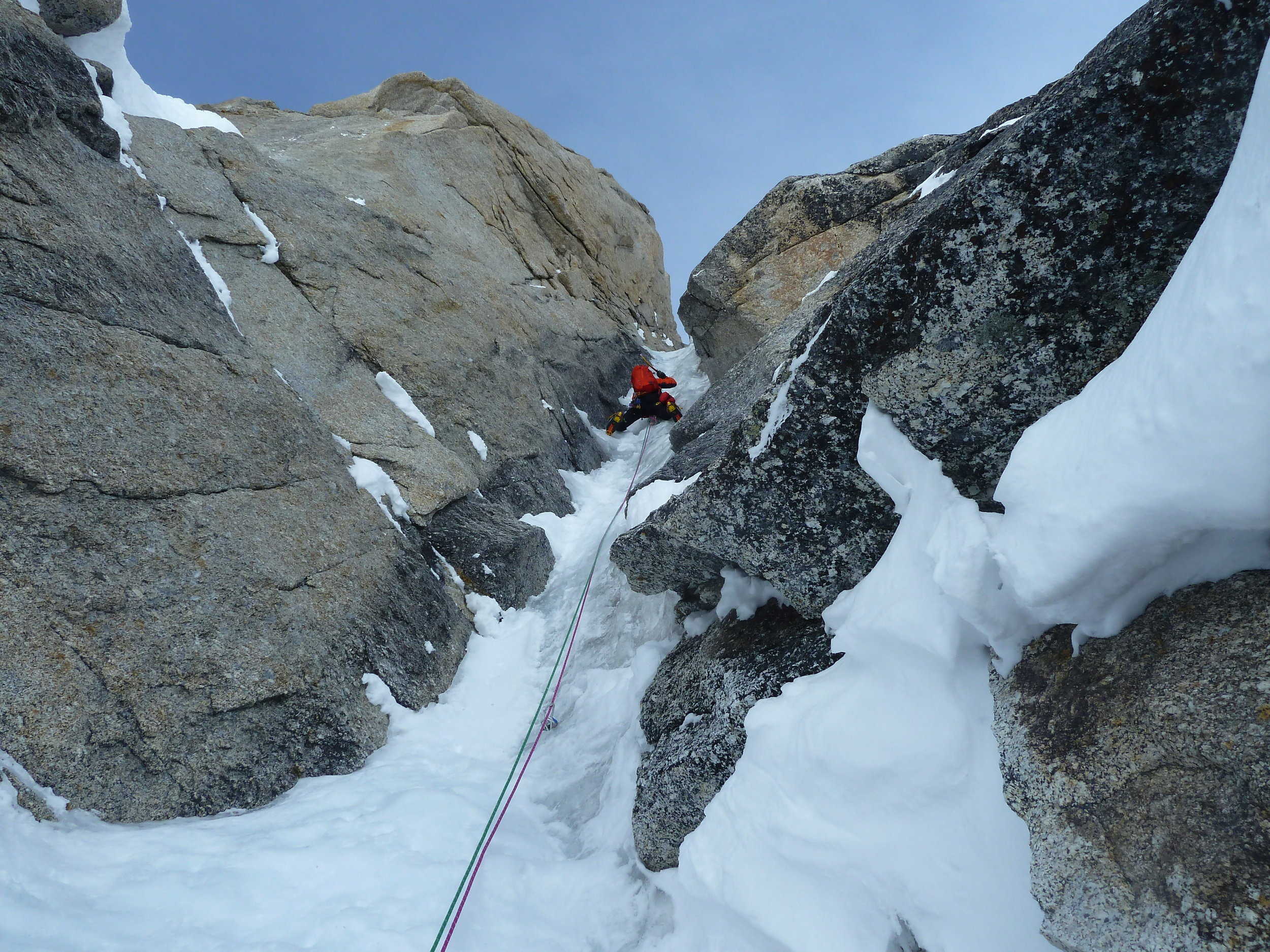 Uisdean on one of the brilliant ice pitches - perhaps the upper section of The Shaft? Moonflower, Mt. Hunter.