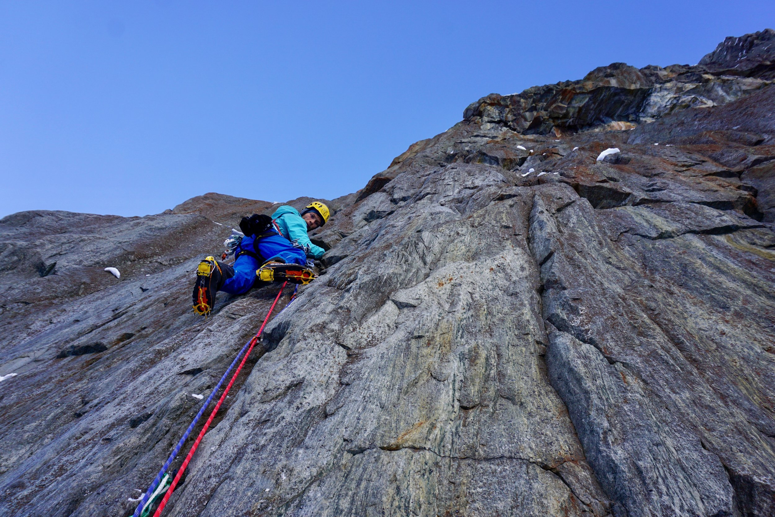 Will Sim climbing P2 of  Flame Libre (M6+) at Rive Gauche, Argentiere, Chamonix. It was a shame not to 'go big' with this weather window but hey, next time.
