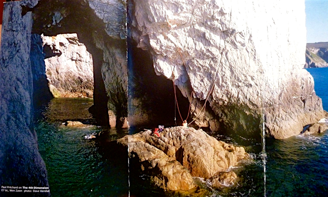 The incredible Ray Wood photo of Paul Pritchard trying a version of TFD. He is going too far right in the picture. This is the back flap of the Gogarth North guidebook.