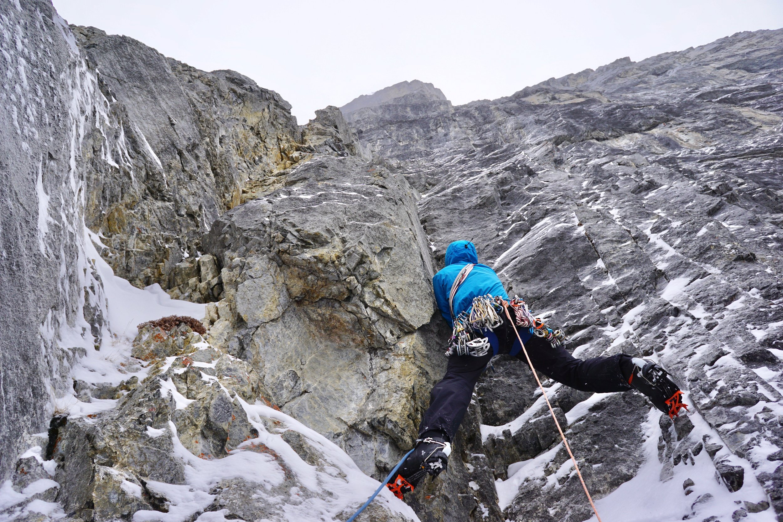 Marc-Andre Leclerc attempting a winter ascent of Ha-Ling, Canmore. Canada.