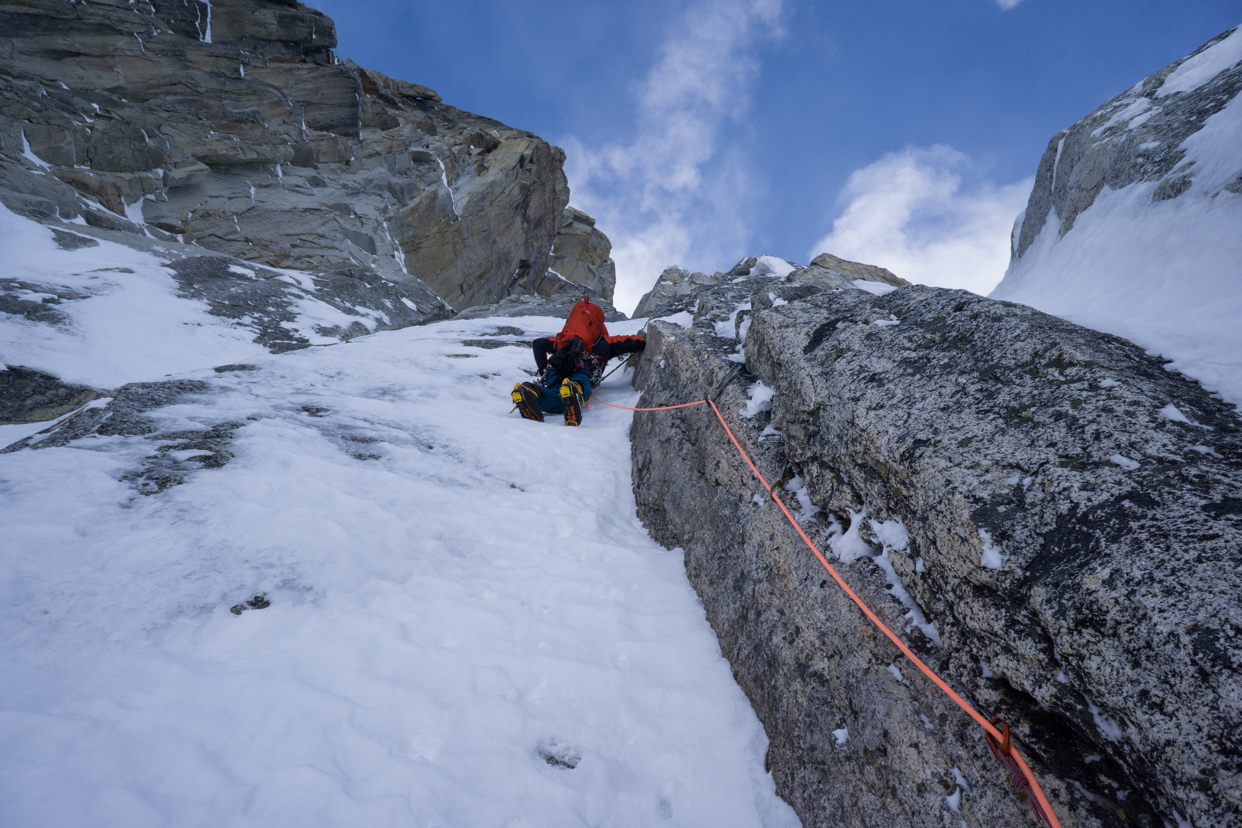 Uisdean on P7 of our N face attempt.