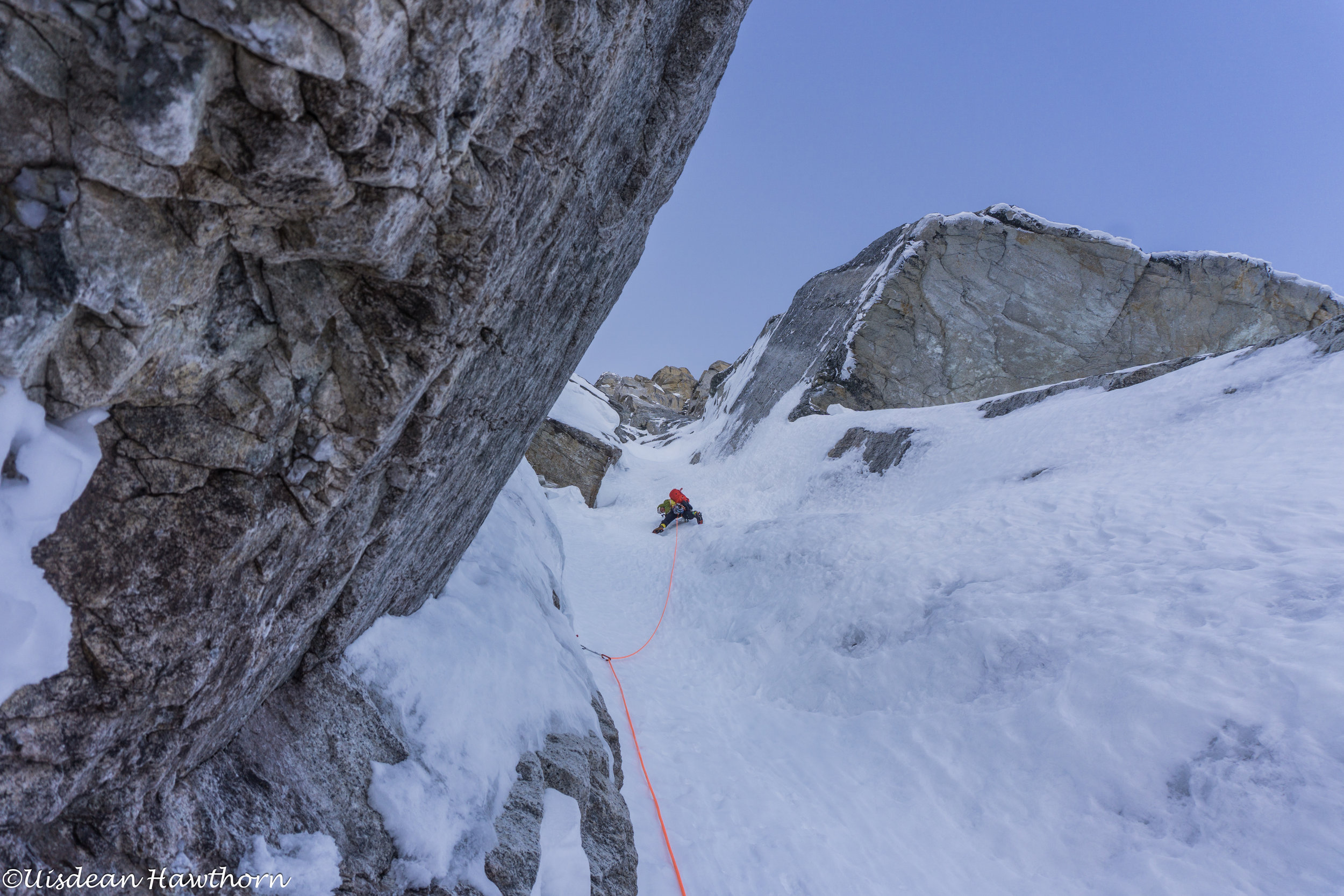P4 of our N face attempt. Steep neve and not much gear.