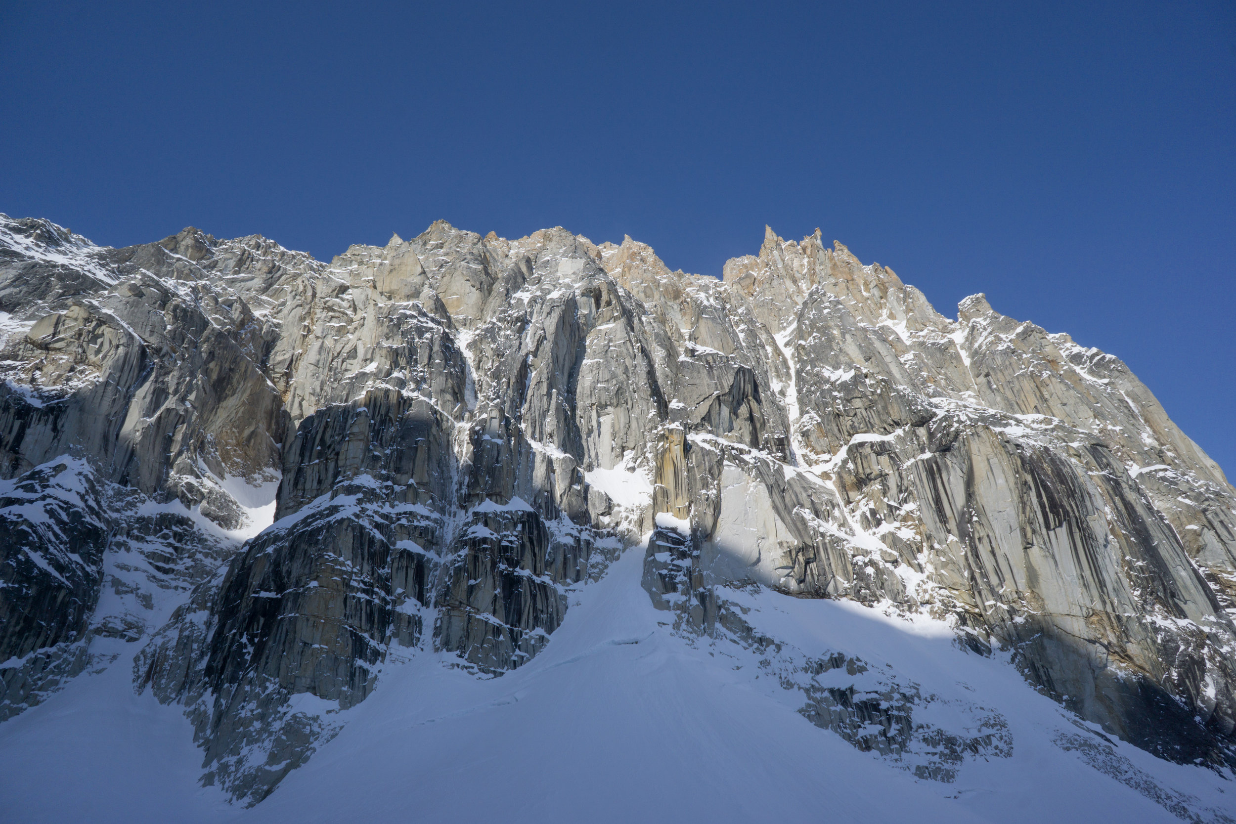 We climbed the thin couloir streaks just left of centre. To the right of the big grey rock scar is Hoar of Babylon.