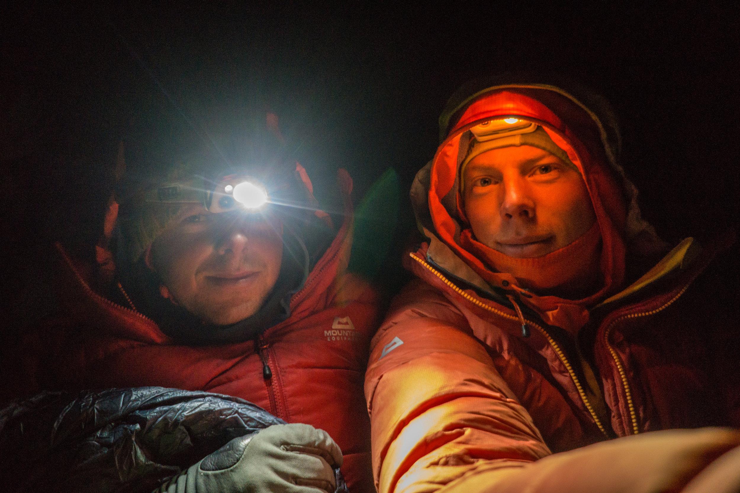 Uisdean and Tom 'enjoying' a bivi. Fun or Fear, Mt. Jezebel, Alaska.