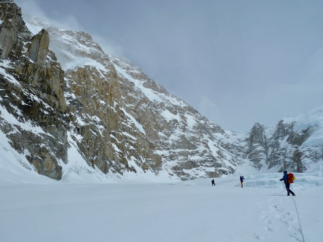 Chantel Astorga, Anne Gilbert Chase and Uisdean Hawthorn after an attempt at the Slovak Route, South face of Denali.