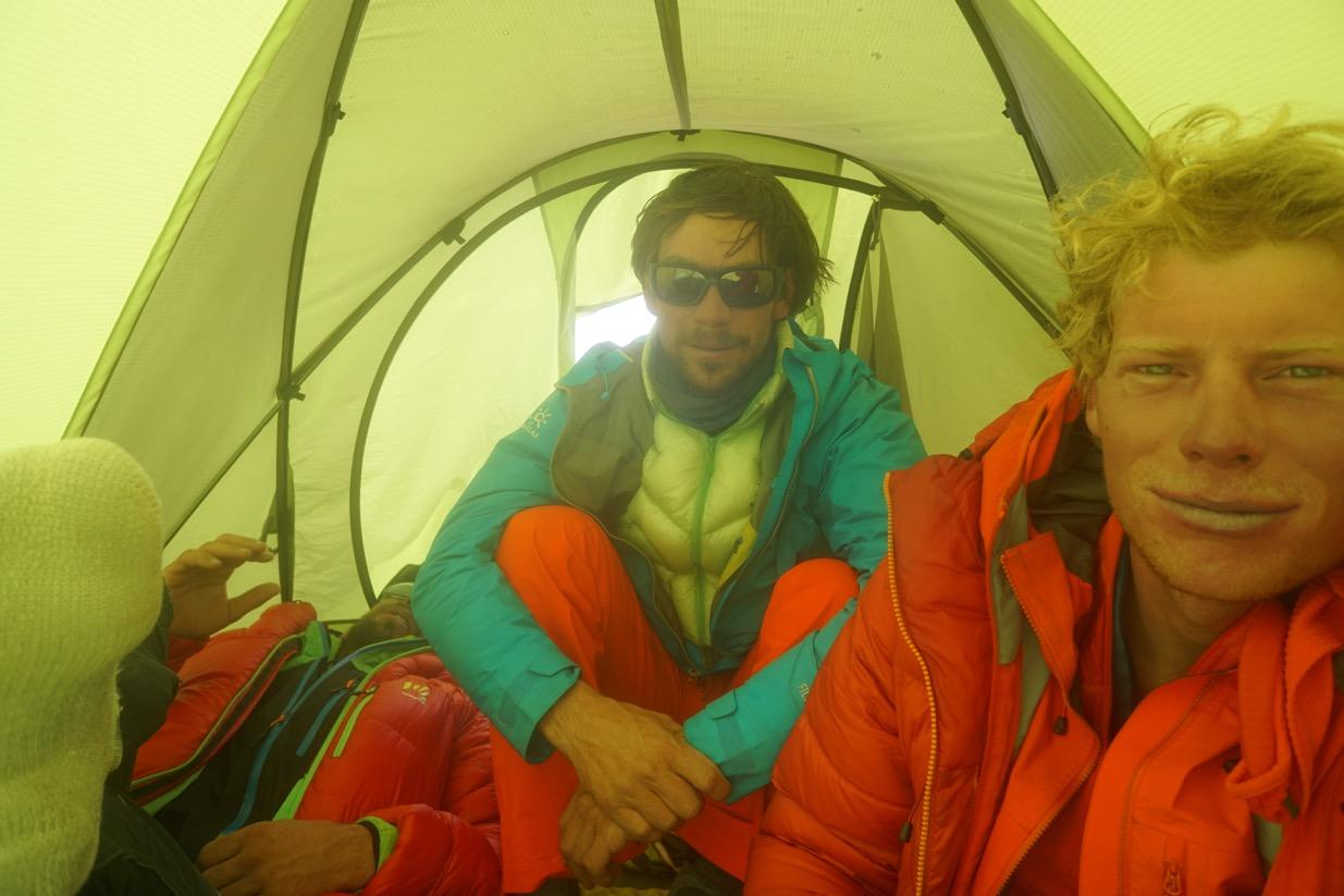 Luka, Ales and Tom. Day 5, North Ridge Variation, Latok 1, Karakoram. Pakistan.