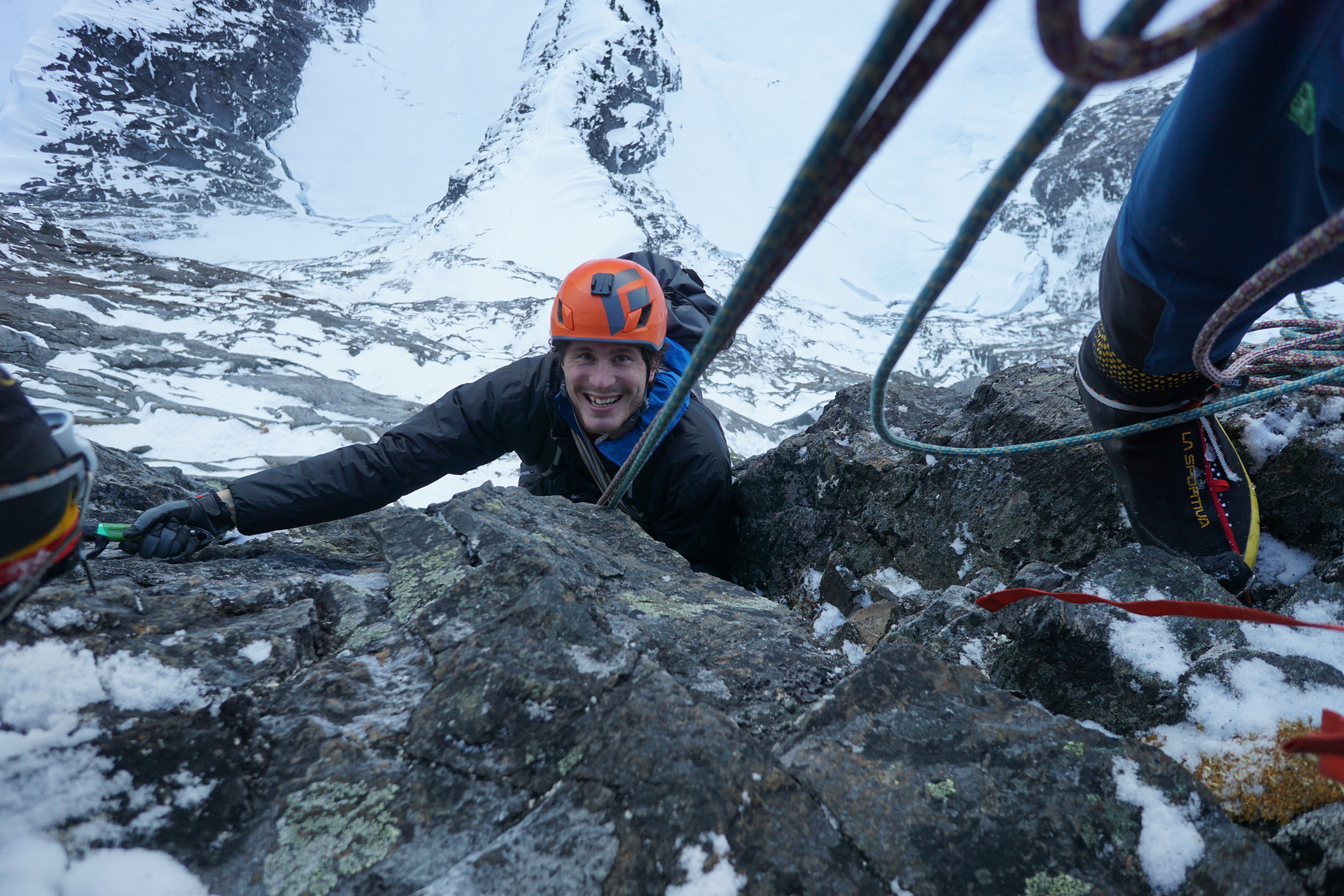 Marc-Andre Leclerc on Navigator Wall, Mt. Slesse. A memorable experience.