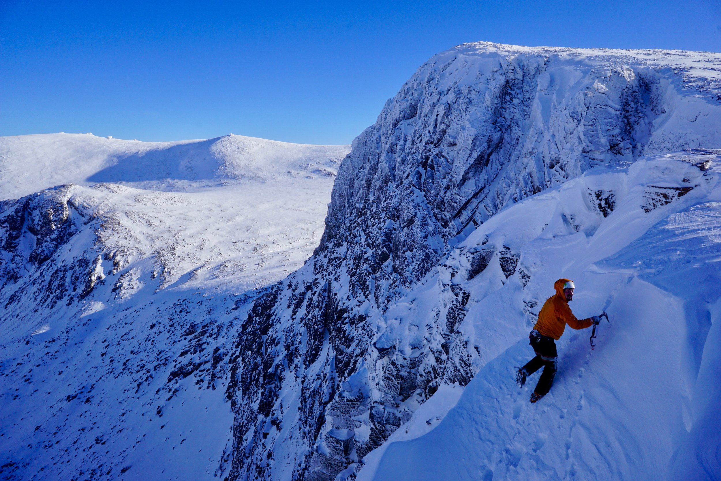 Ben Silvestre soloing out of Sticil Face (V, 5), Shelterstone, Caringorms.