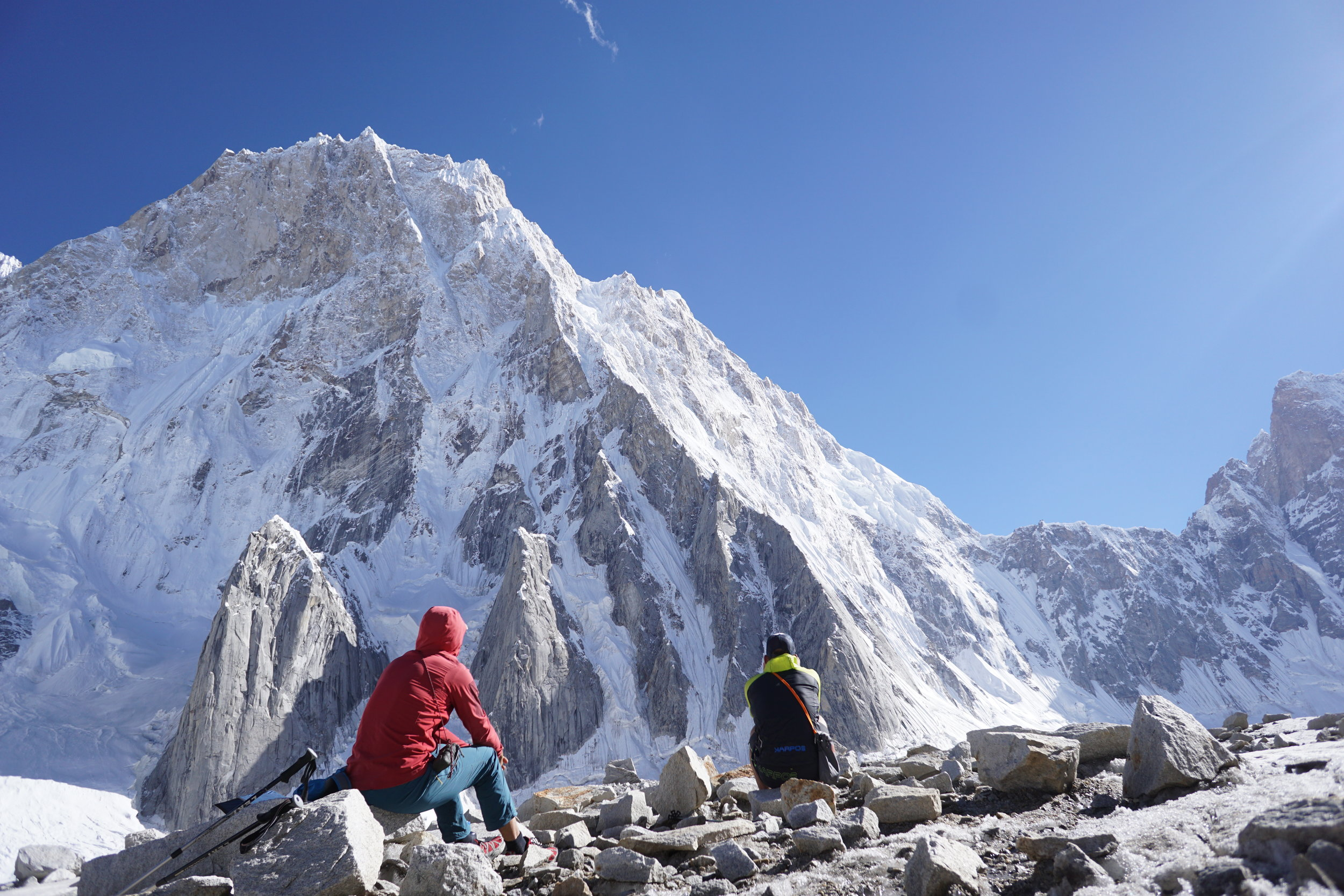 Ales and Luka scope out the North Ridge of Latok I.