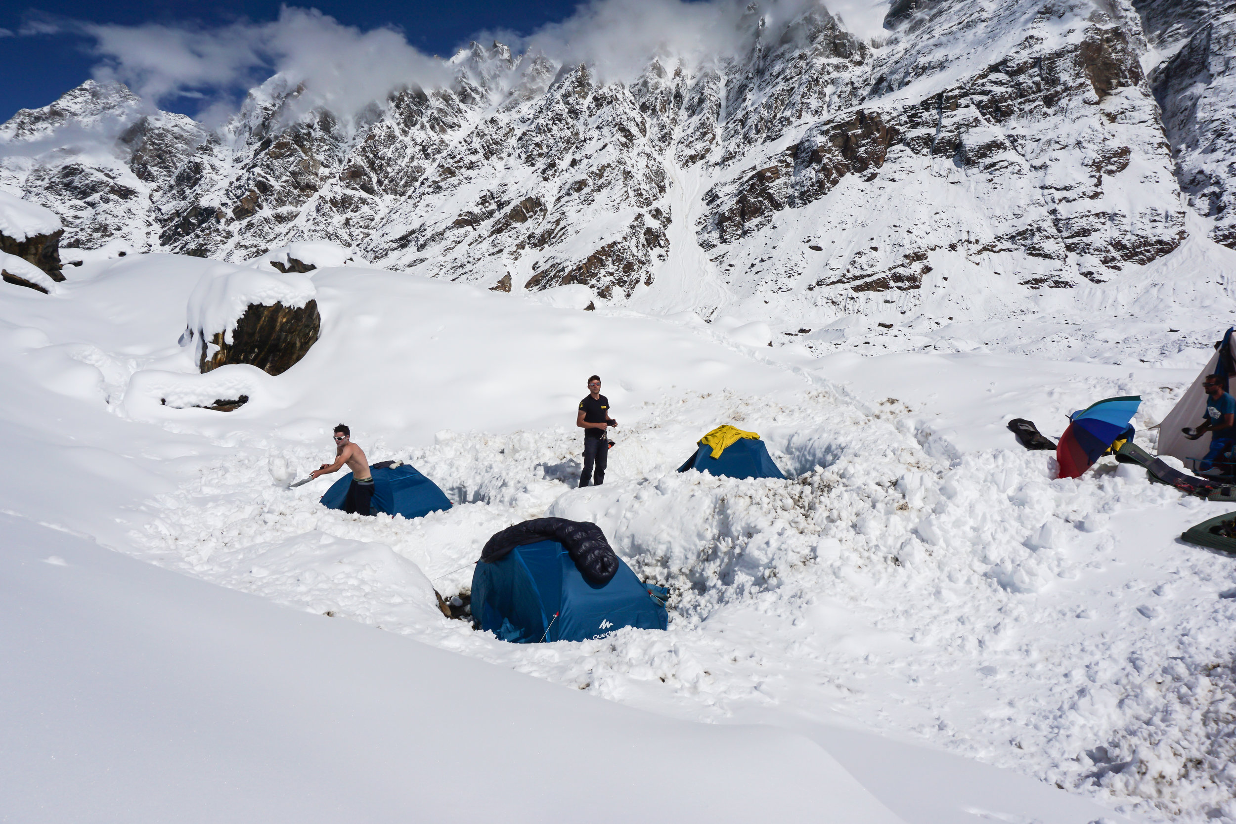 Our base camp in India, a few days after the snowfall. Not ideal!