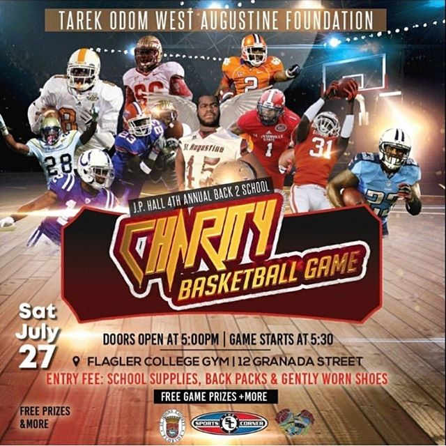Looking for an easy and fun way to give back to your local community? Come join us this Saturday the 27th at the Flagler College Gym. The Tarek Odom West Augustine Foundation is putting on the 4th Annual Back 2 School Charity Basketball game. Bring some school supplies, back packs and/or gently worn shoes and enjoy an evening of basketball with your St. Augustine community! #giveback #back2school #LockIN #tarekodomwestaugustinefoundation #charitybasketballgame #westaugustine #saintaugustine