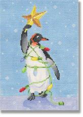 Penguin with lights and star