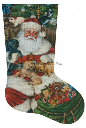 Santa Sleeping Pups Kittens Stocking XS460.jpg