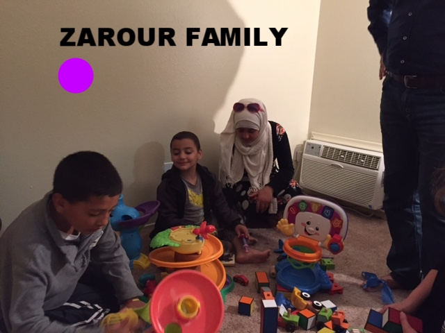 Zarour Family   The Zarour Family - This is a Syrian family of 7 (mom, dad, girls/14, 13, 11; boys/8, 6). The 6-year-old is disabled and non-verbal, but his eyes are filled with joy and he smiles easily. The father was a contractor in Syria, whose specialty was creating beautiful ceilings. They recently moved to Southern California, and have been living in an apartment for just a few months. They are currently in the process of enrolling their children in school.