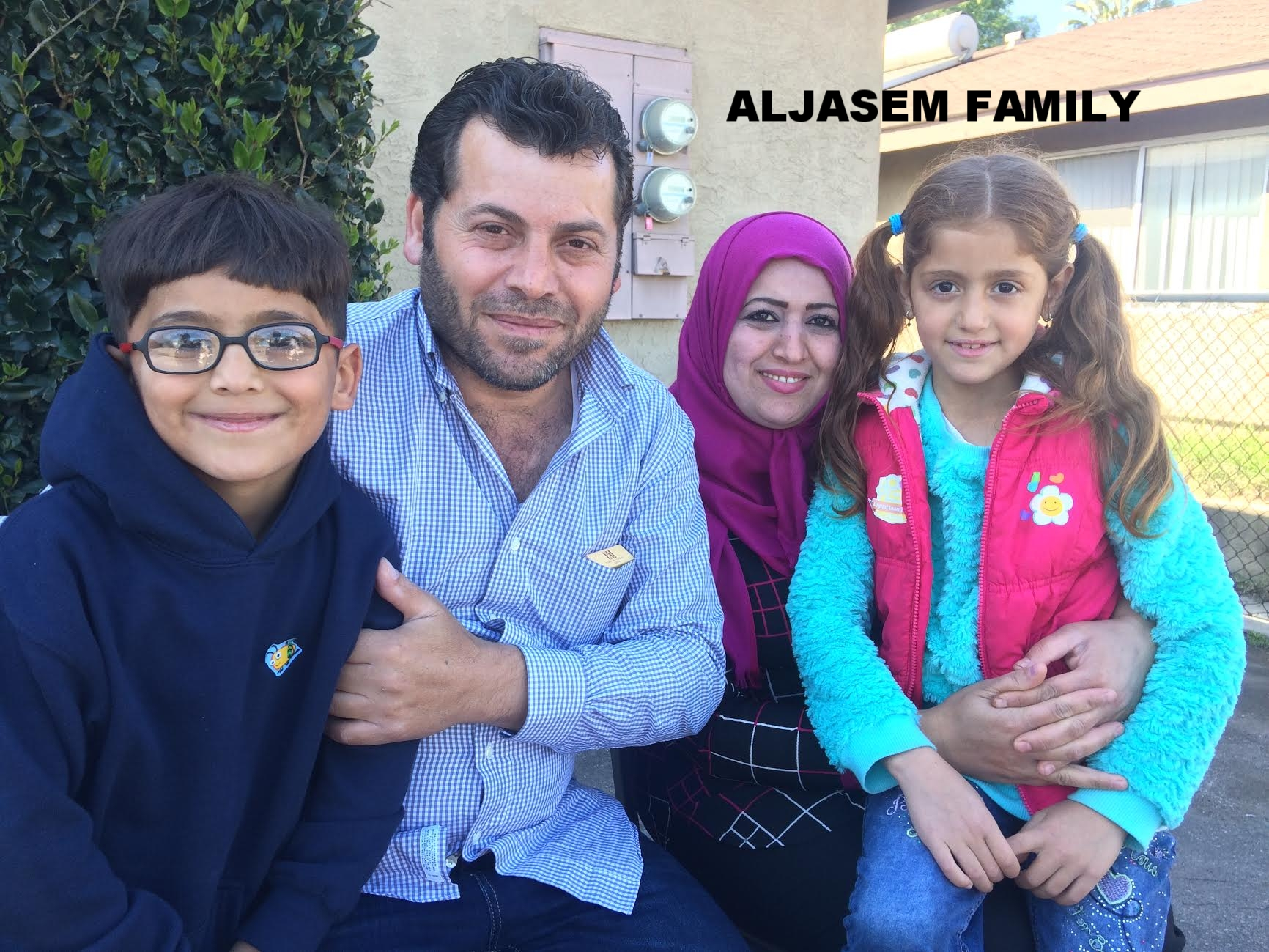 Syrian refugee family that arrived in southern California in late January. Dad, mom, and four kids ages 7 through 13.