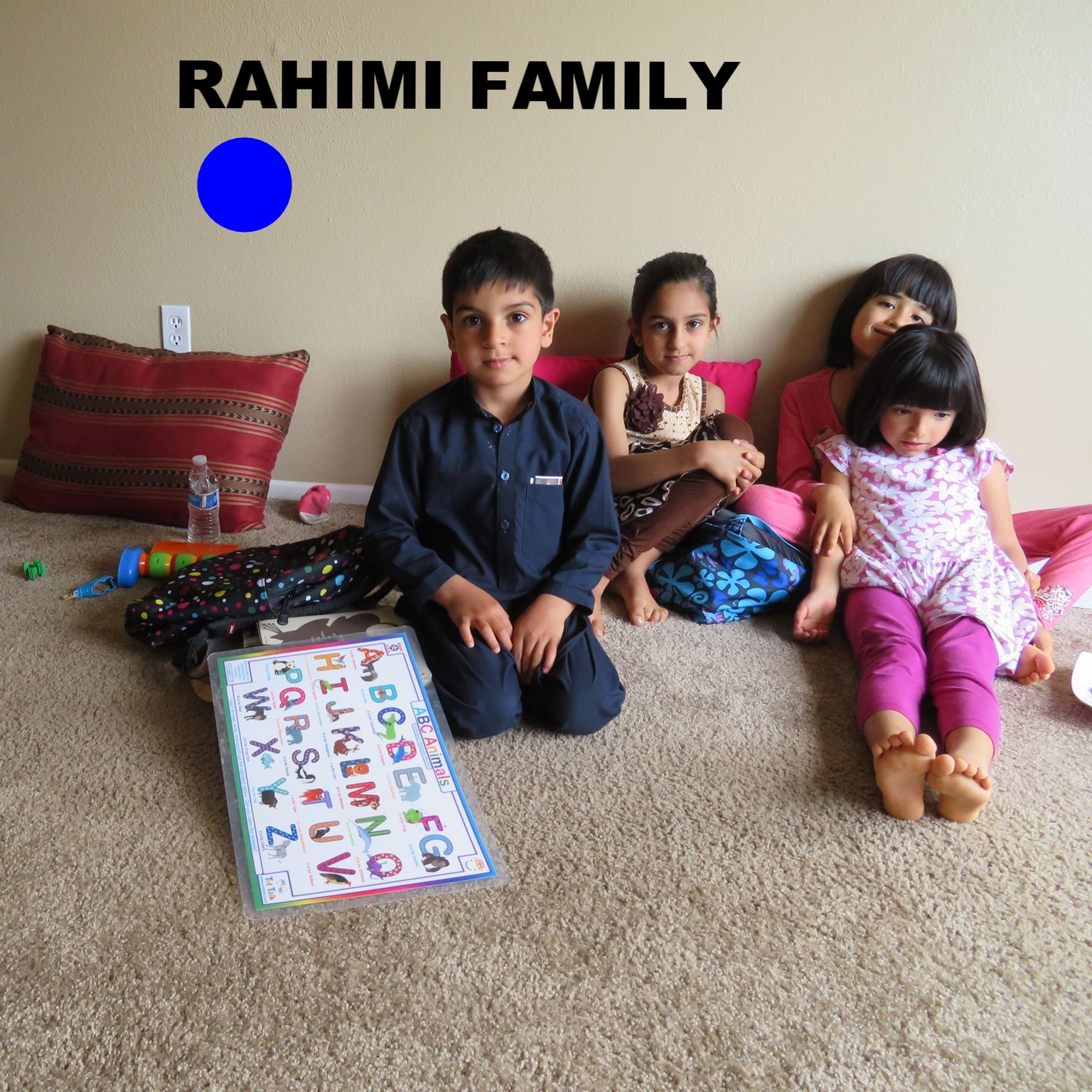 Afghan family of 5, arrived to LA on March 8 2017. Mom, Dad with three kids: 9 year old girl, 6 year old boy and baby boy, 13 months. Dad worked with the American military in Afghanistan. Now they are resettling in  Southern CA.