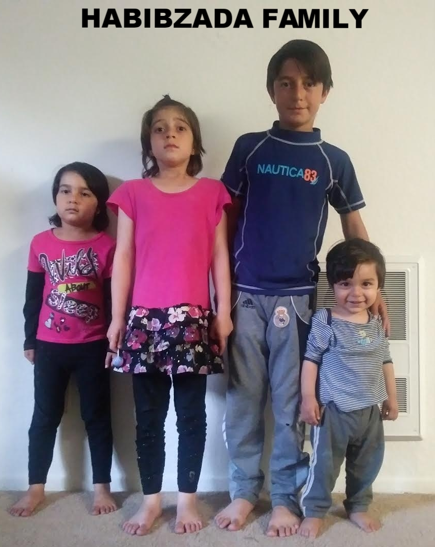 Afghan family of 6:  Mom, Dad two boys ages 9 years old and 1.5 years old and two daughters ages 6 and 4 years old arrived in CA on Jan, 9, 2017. Dad's English is very good and he worked with USAID funded projects in Afghanistan.