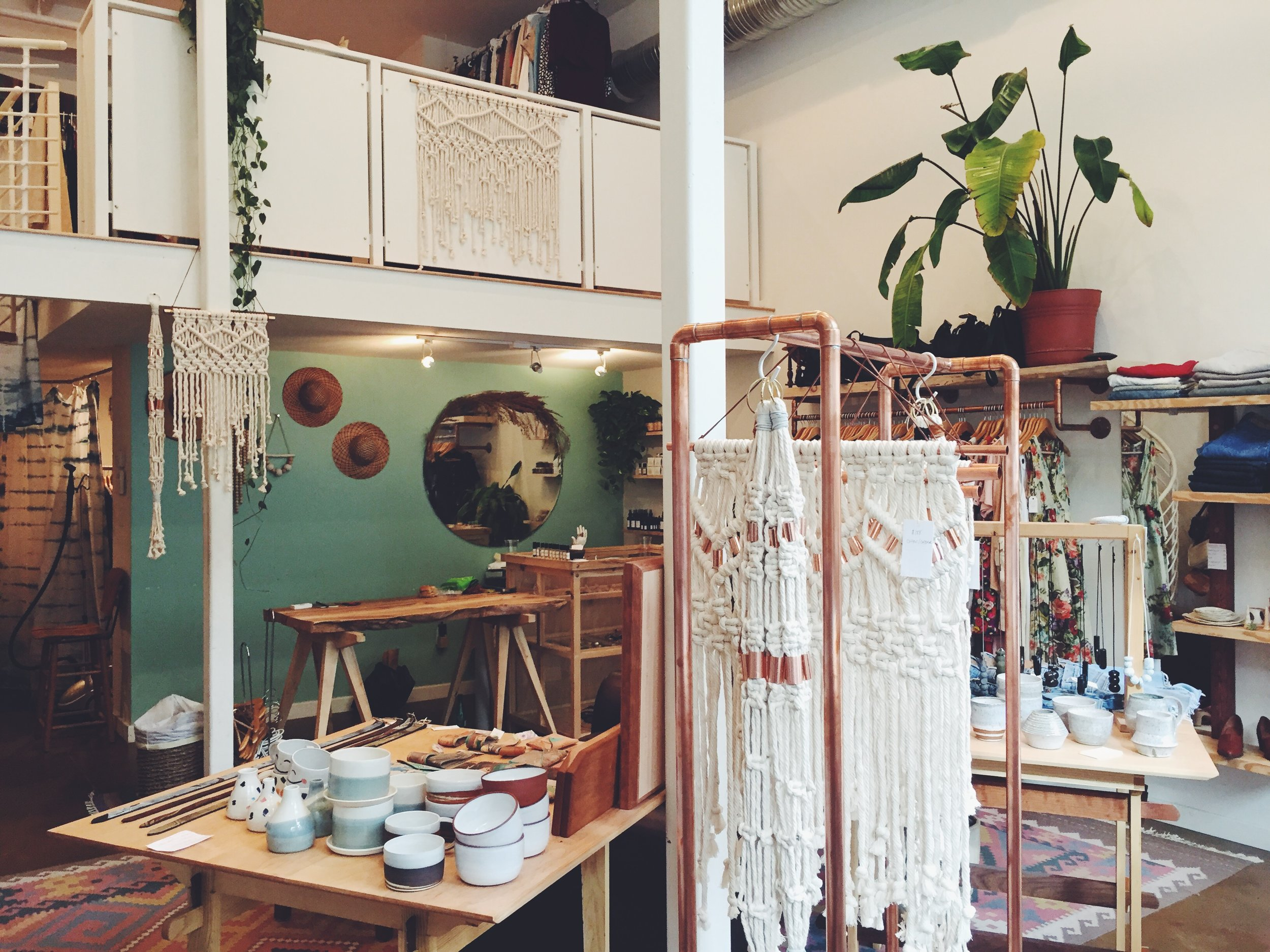 WALL HANGINGS AND PLANTERS AT ROSEWOOD CLOTHING CO, RICHMOND, VA