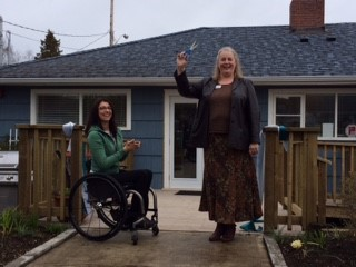 Phase One Complete! - Forward House Executive Director Sharon Welch and MLA Michelle Stilwell cutting the ribbon and celebrate the successful completion of Phase One!