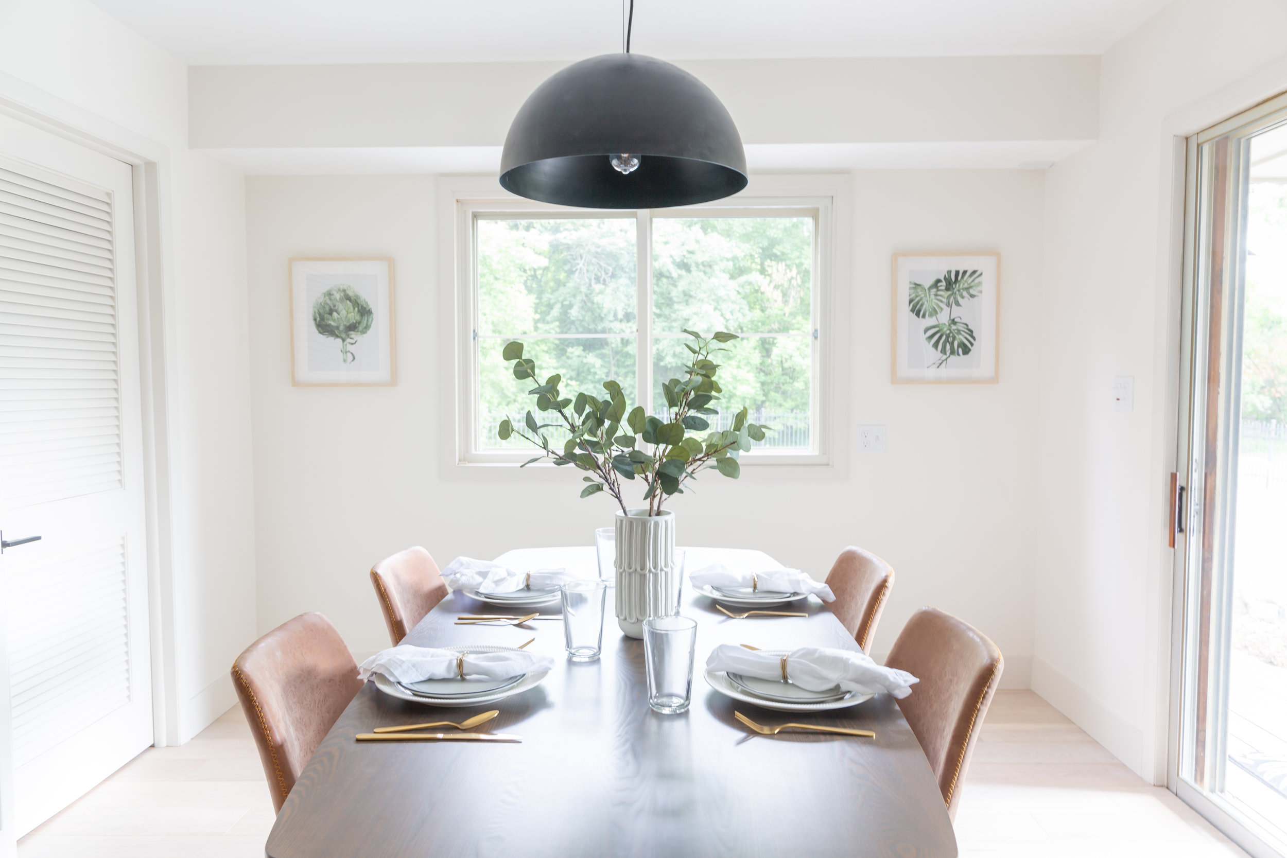 Pendant:  Target  | Kitchen Table:  Midwest Discount Furniture  | Dining Chairs:  TJ Maxx