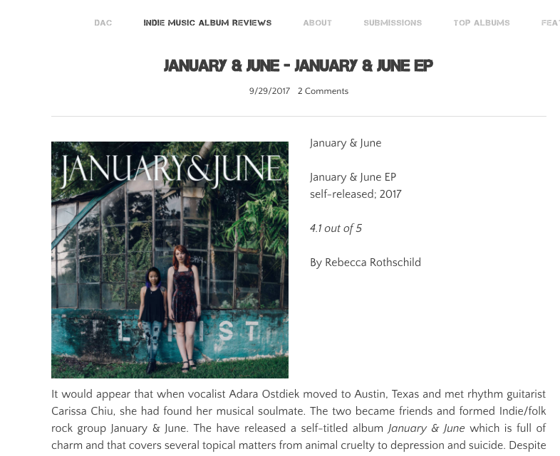 January & June EP Review - Read full article on DivideAndConquerMusic.com