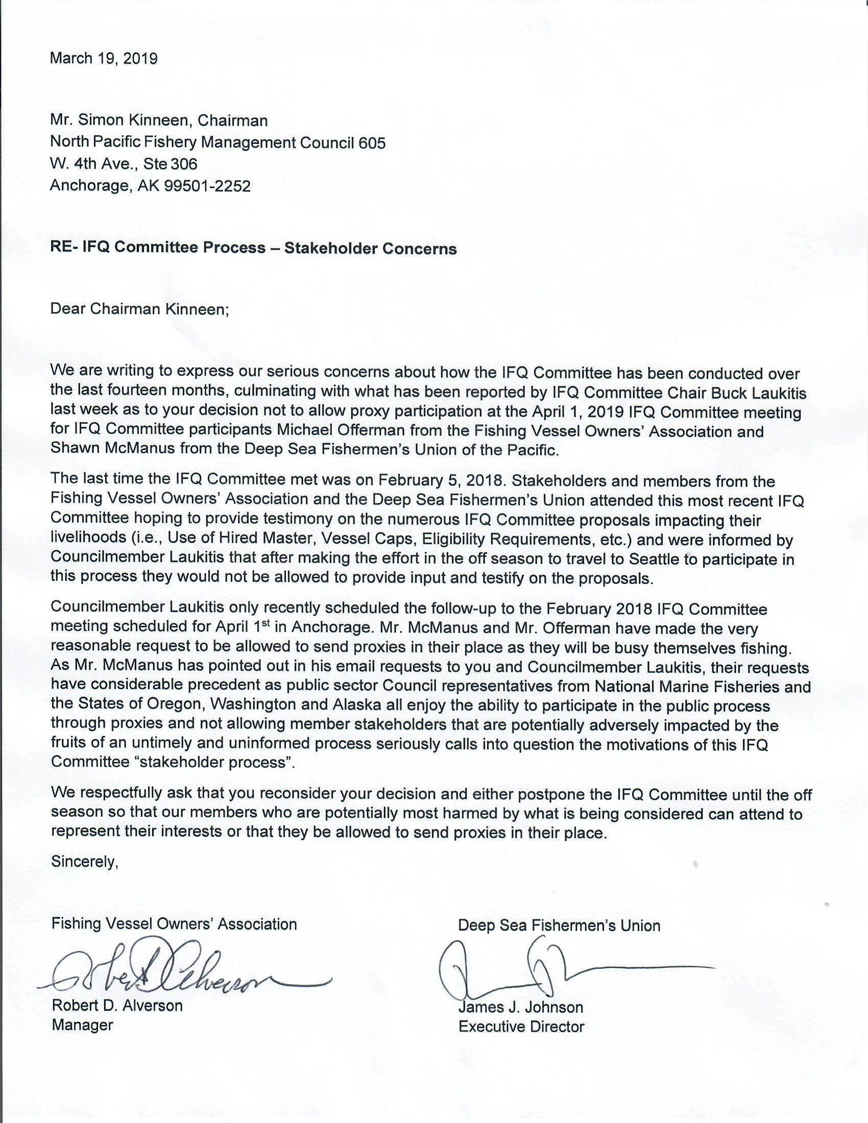 FVOA and DSFU IFQ Committee Report Letter to Kinnen March 13, 2019 Signature Copy.jpg