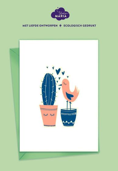 postkaart vogel en cactus
